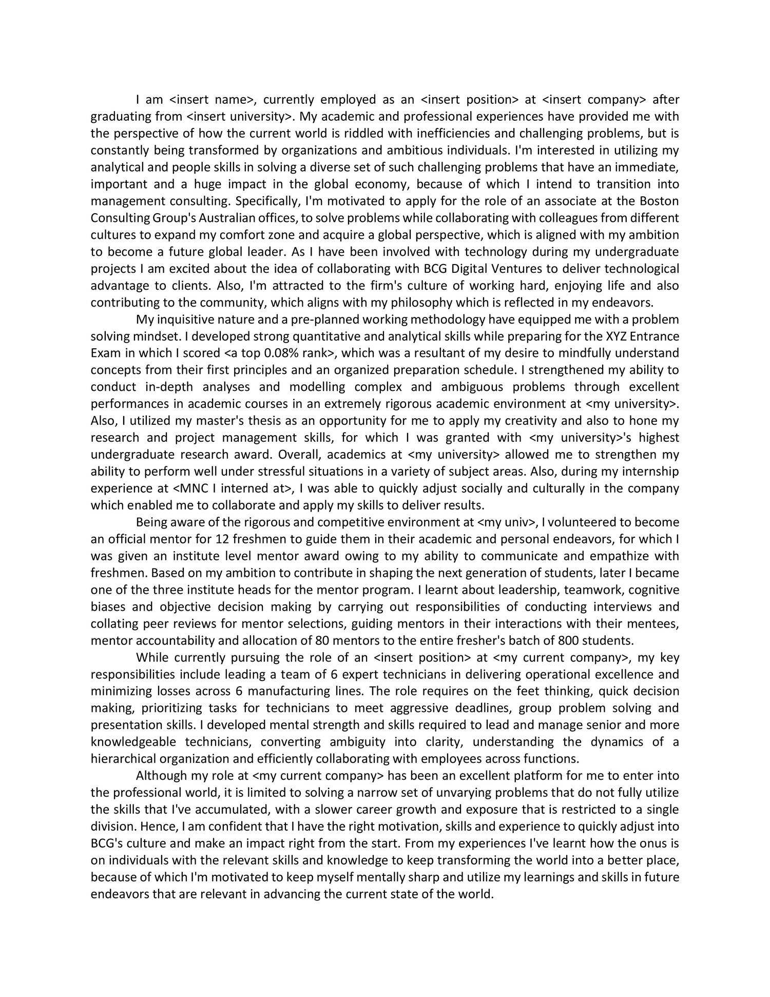 successful bcg cover letter How to write a successful covering letter a good 30% of the cover letters were between four and six pages long and a number had used cv templates without.