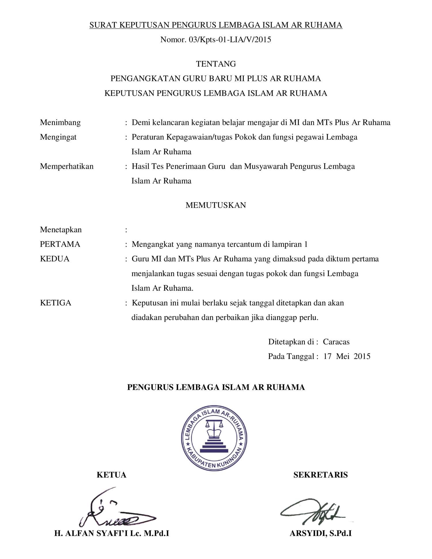 Surat Keputusan Pengurus Lembaga Islam Ar Ruhamapdf Docdroid