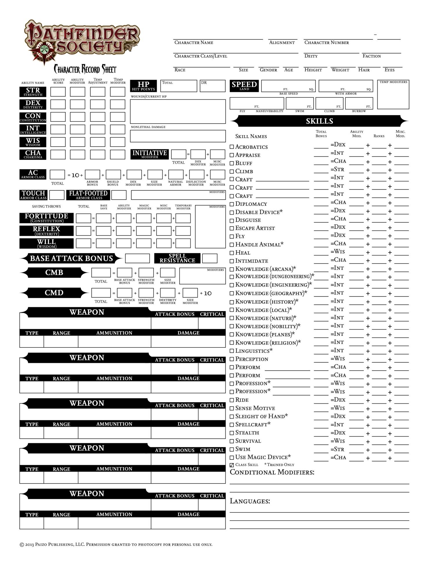 It is a graphic of Wild Printable Pathfinder Character Sheet