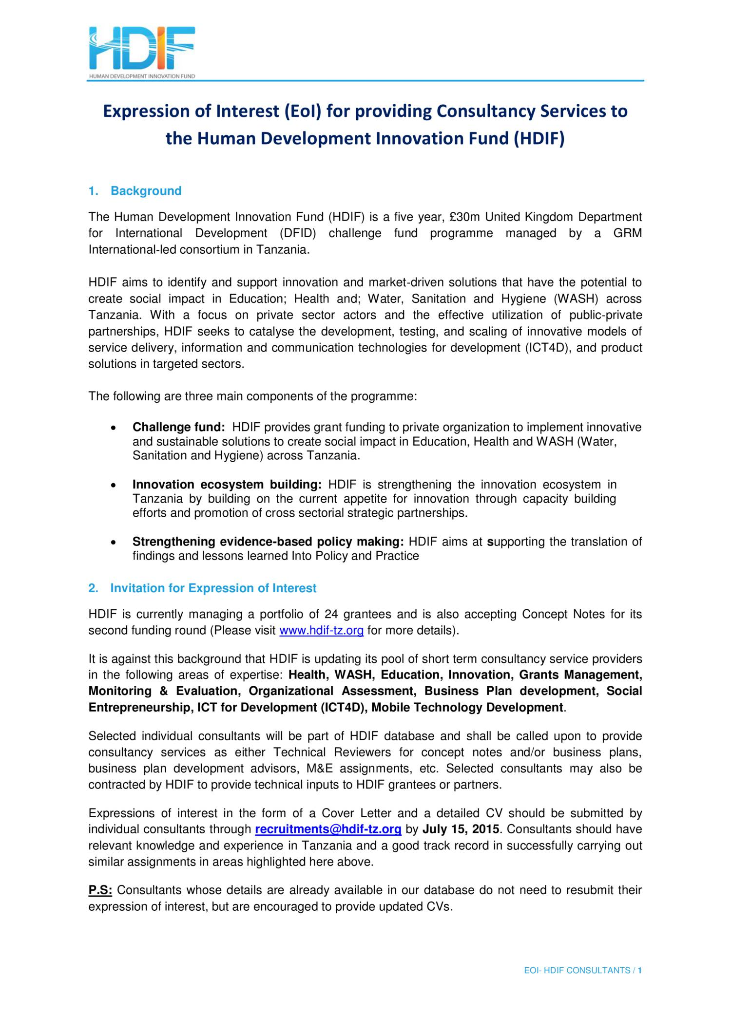 Request for Expressions of Interest ( Consulting Services)