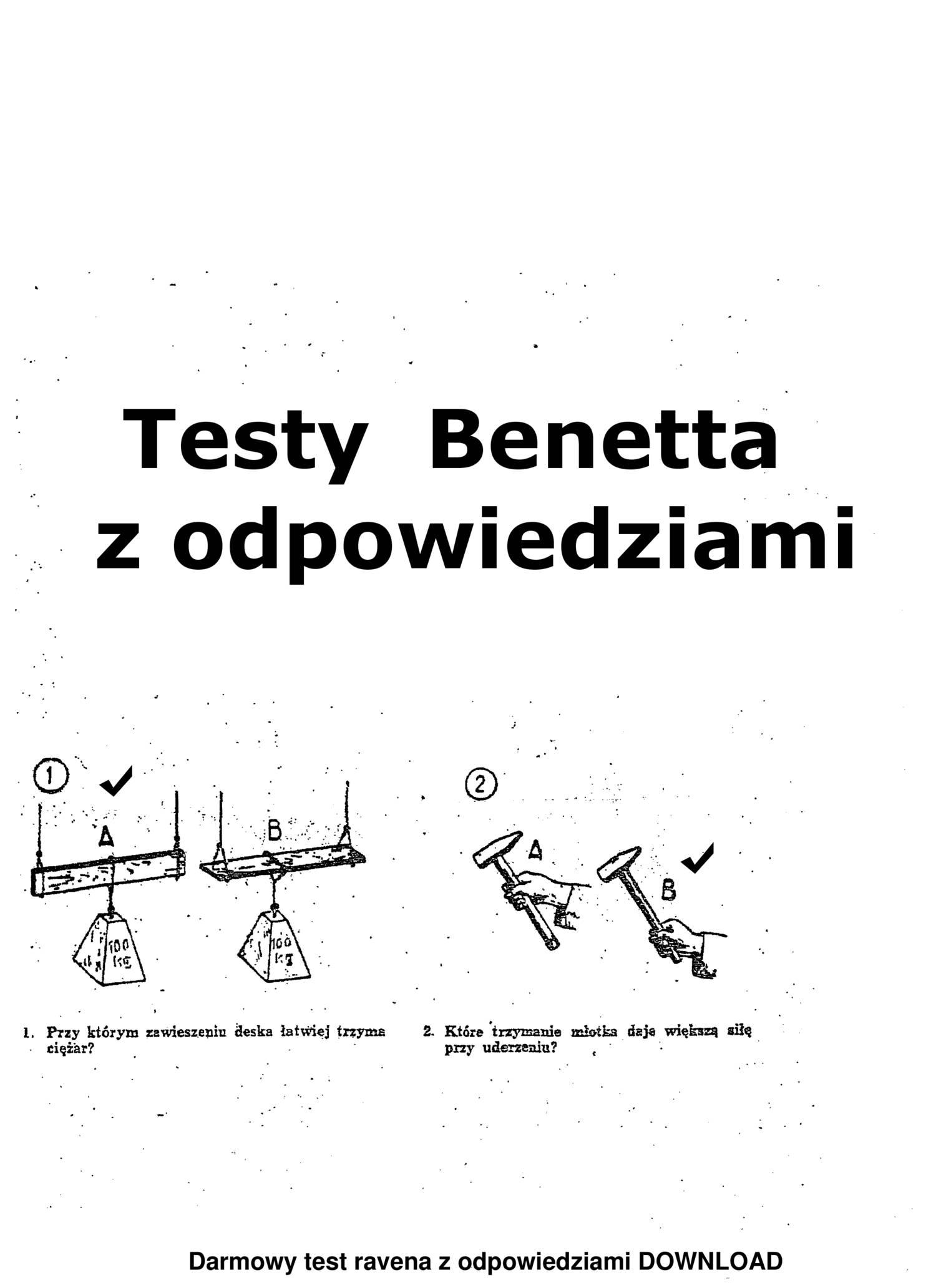 Ogromnie Testy Benetta z odpowiedziami w pdf free download.pdf | DocDroid YQ31