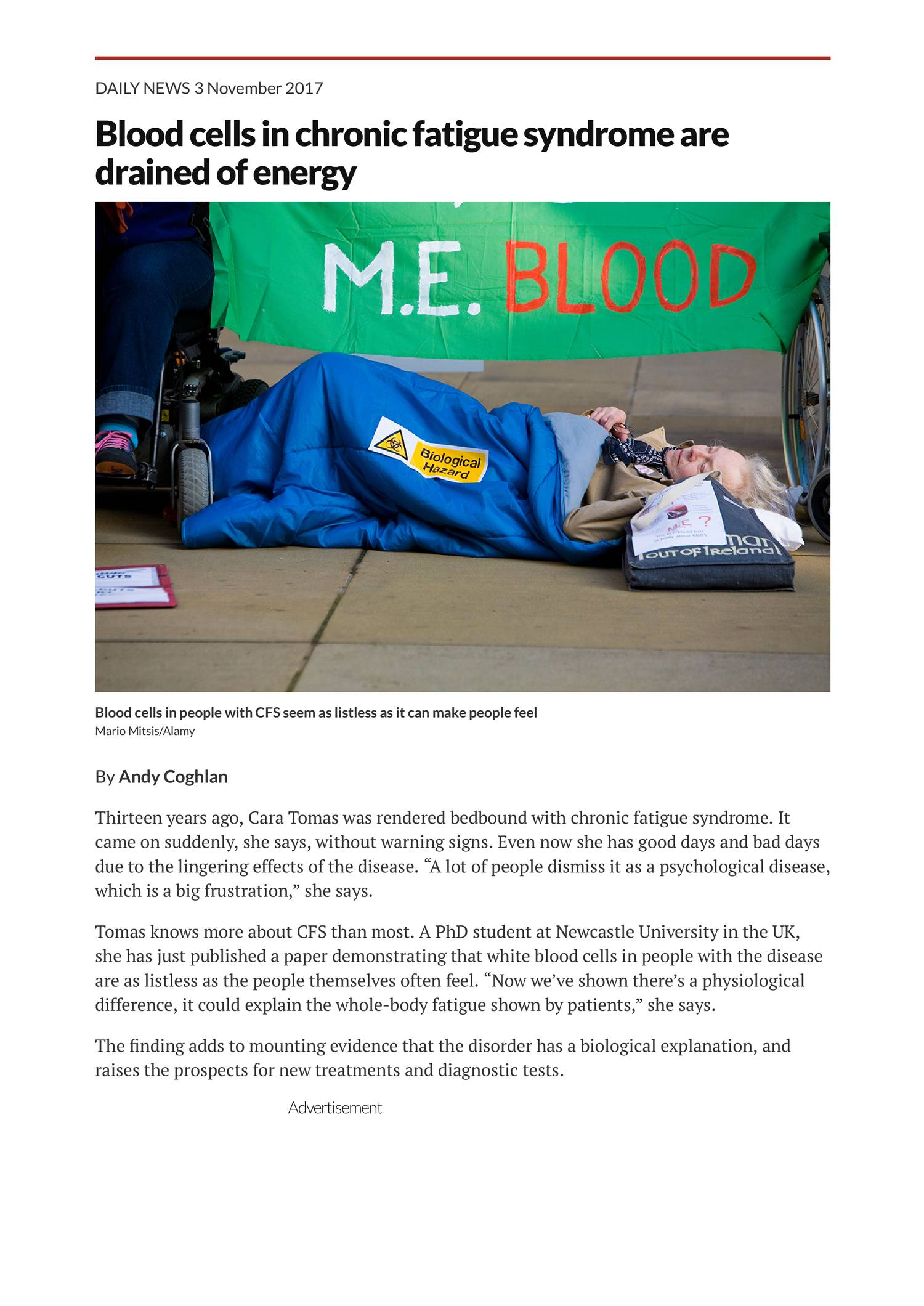 Blood cells in chronic fatigue syndrome are drained of