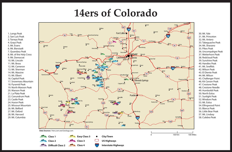 Colorado 14ers Map
