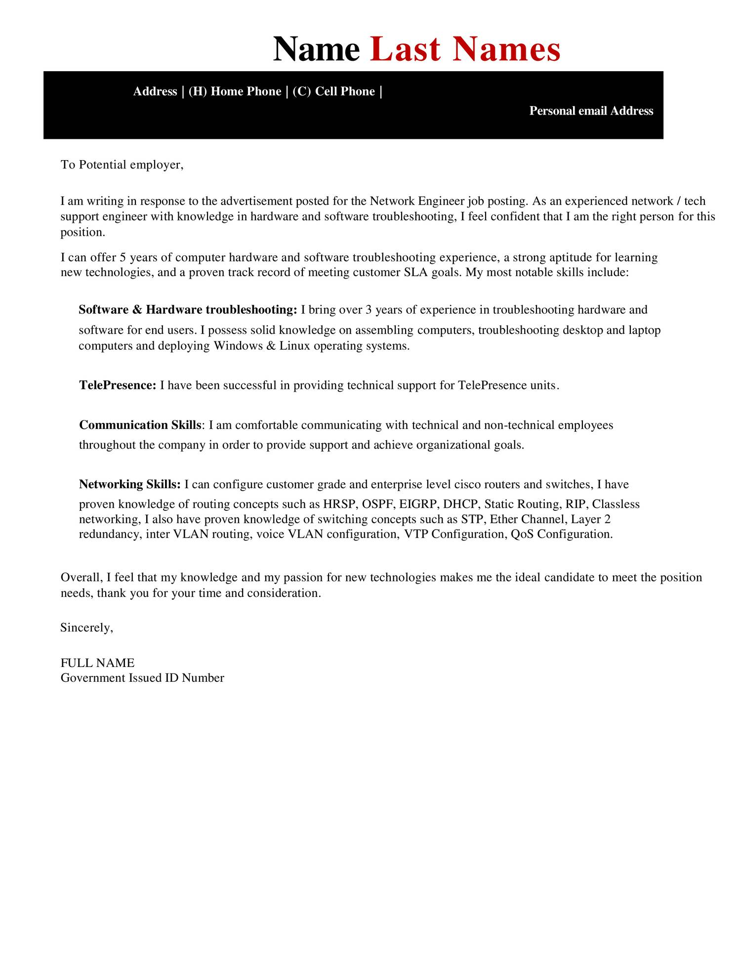 Cover Letter For Network Engineer Gallery - Cover Letter Ideas