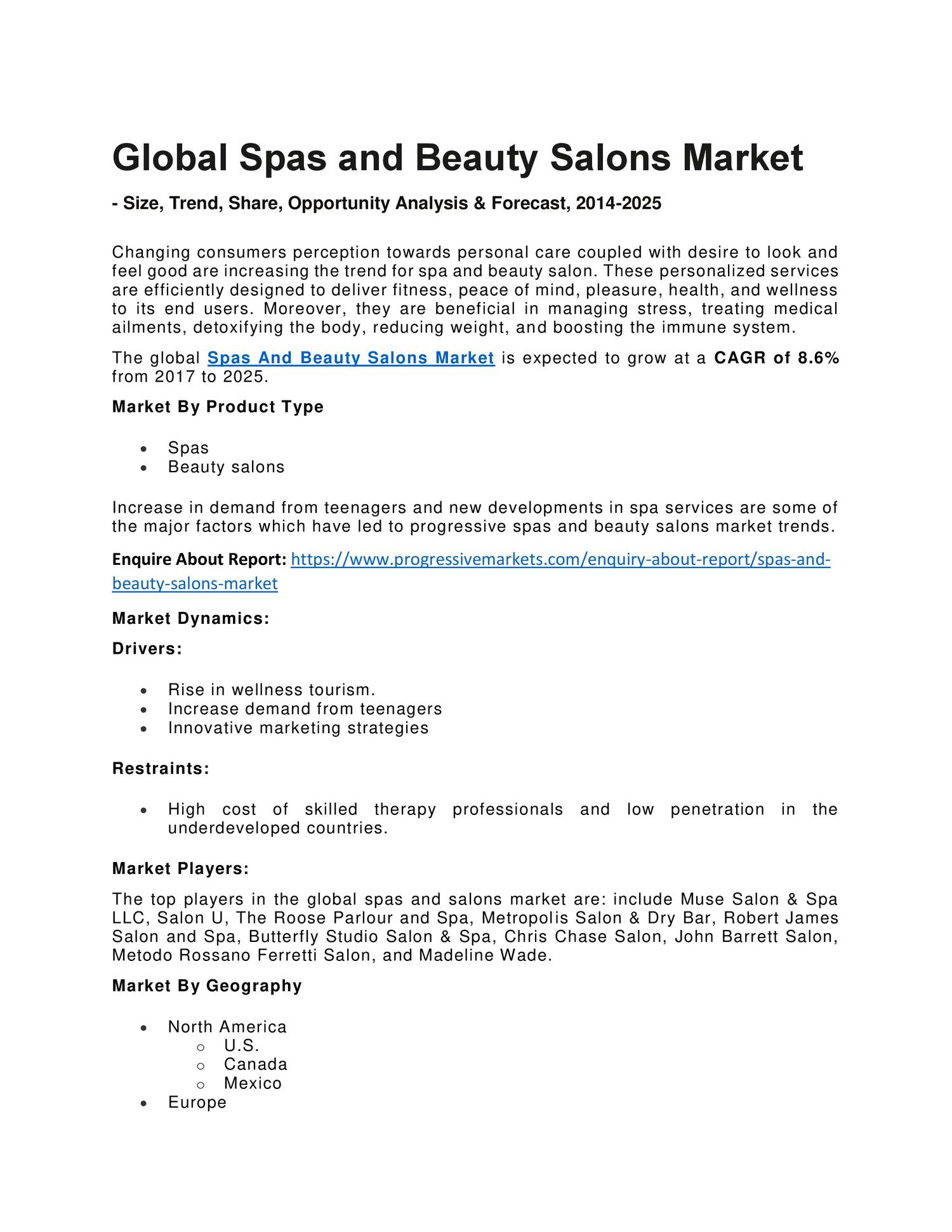 Global spas and beauty salons market hair salon market for A trial beauty treatment salon