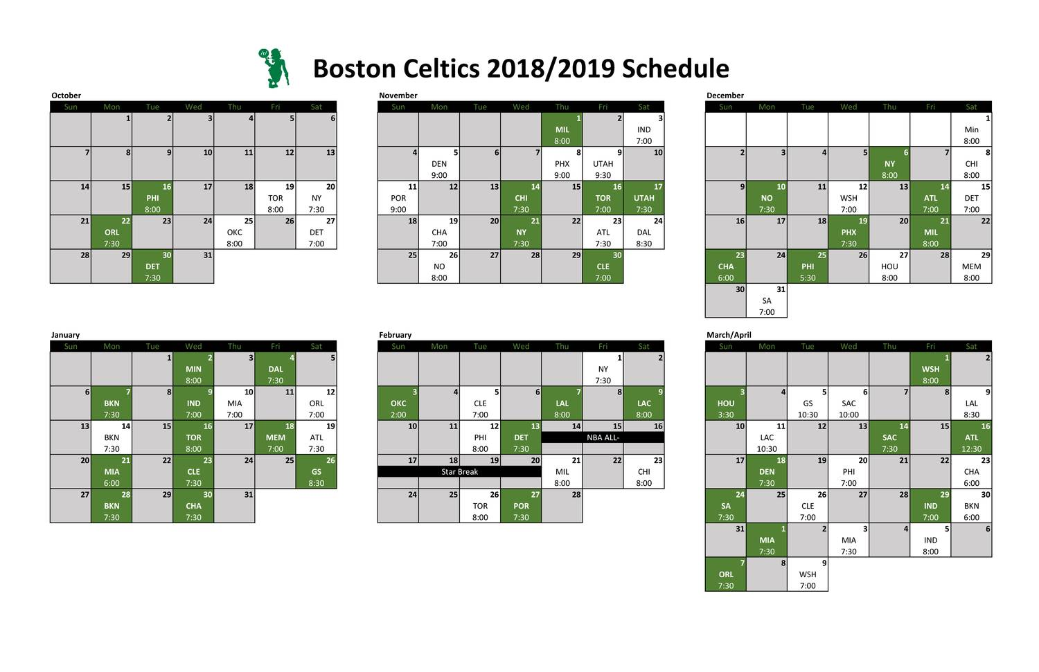 graphic about Celtics Printable Schedule named Celtics Printable Calendar 2018.pdf DocDroid