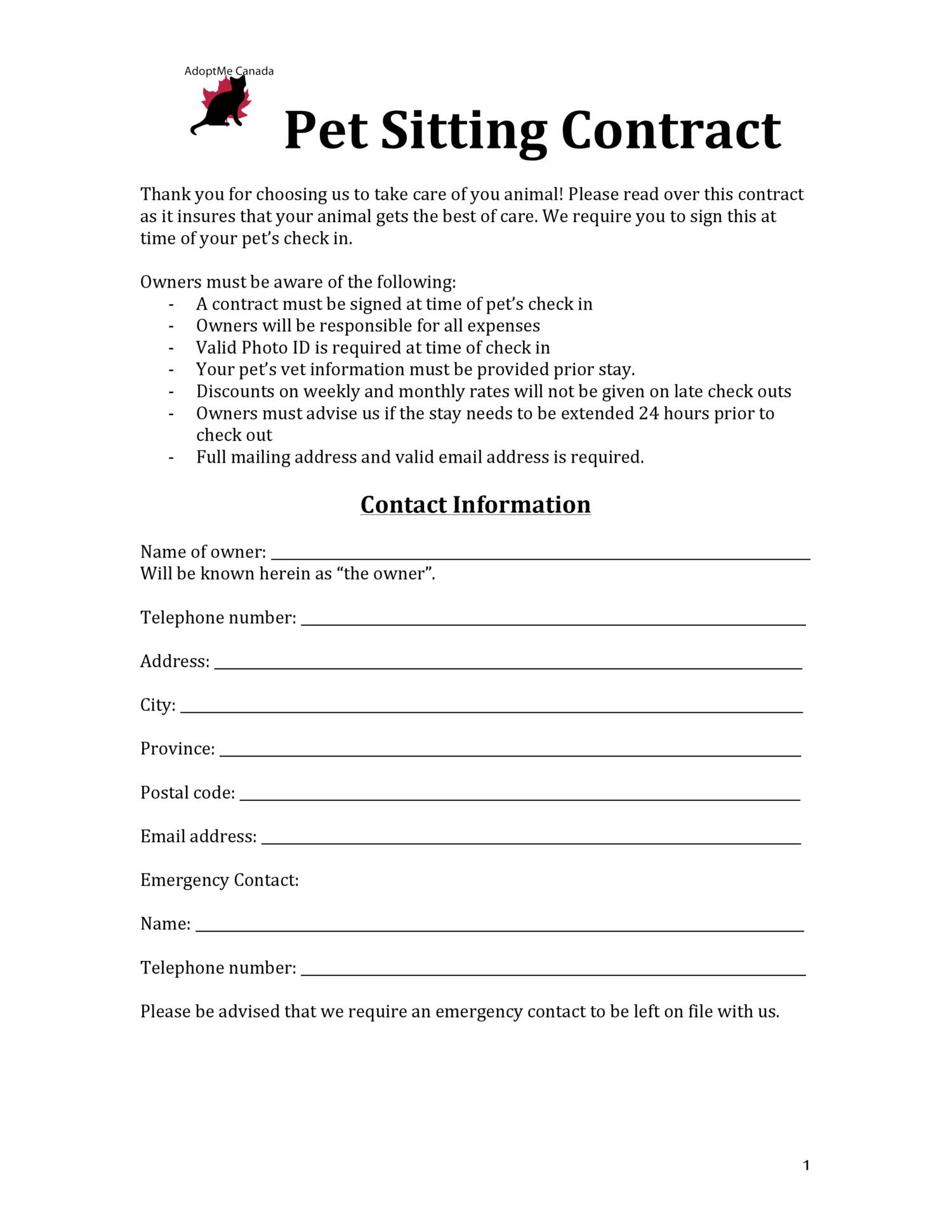 Pet Sitting Contract Reptiles Critters V2 Pdf DocDroid