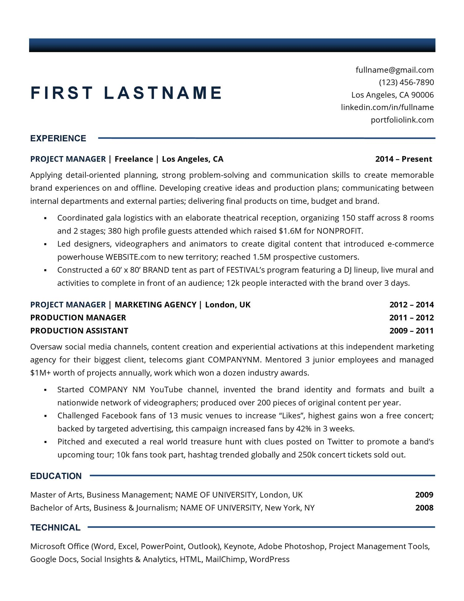 Reddit Project Manager Resume pdf | DocDroid