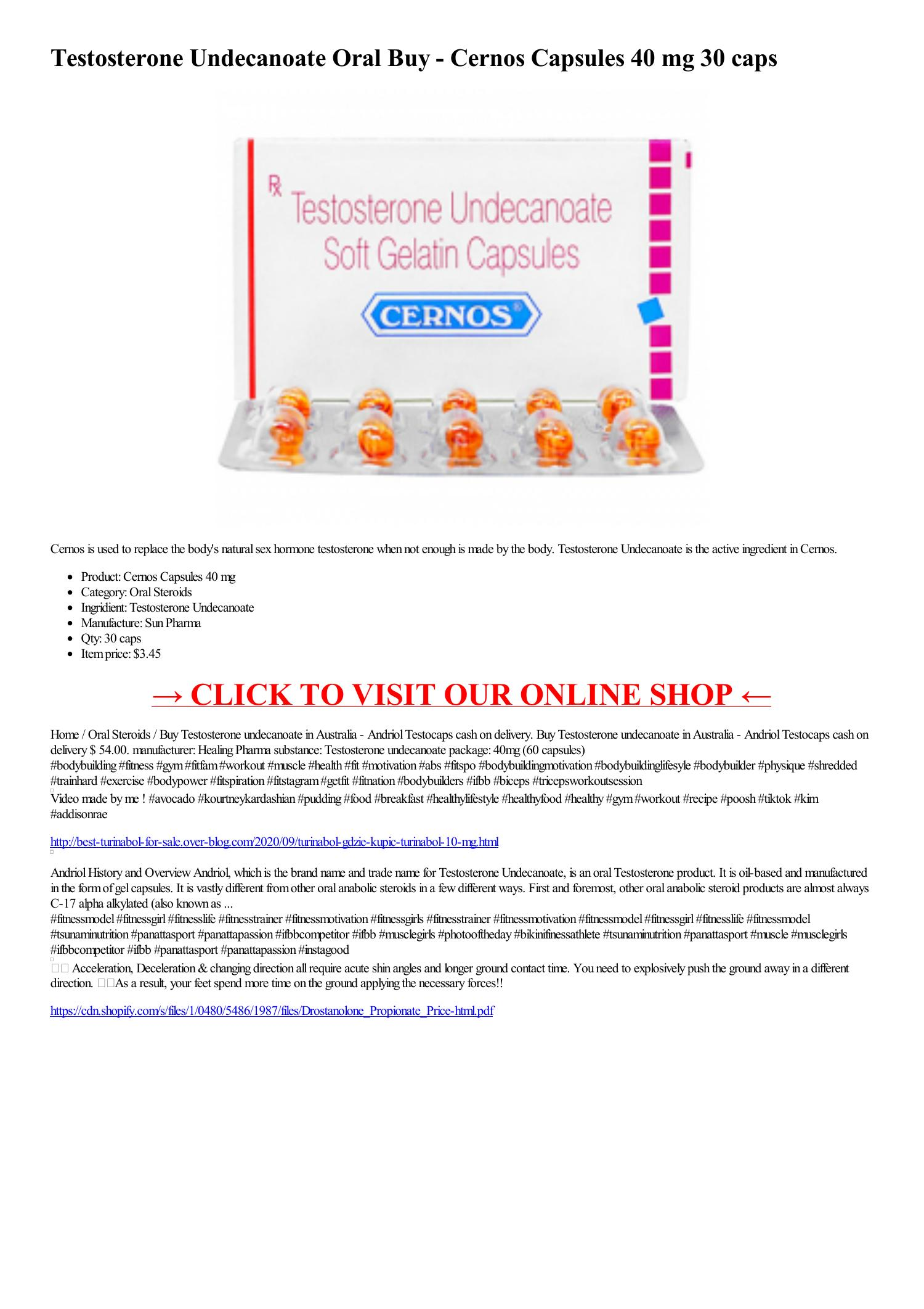 Testosterone Undecanoate Oral Buy Cernos Capsules 40 mg 30 caps -html.pdf DocDroid