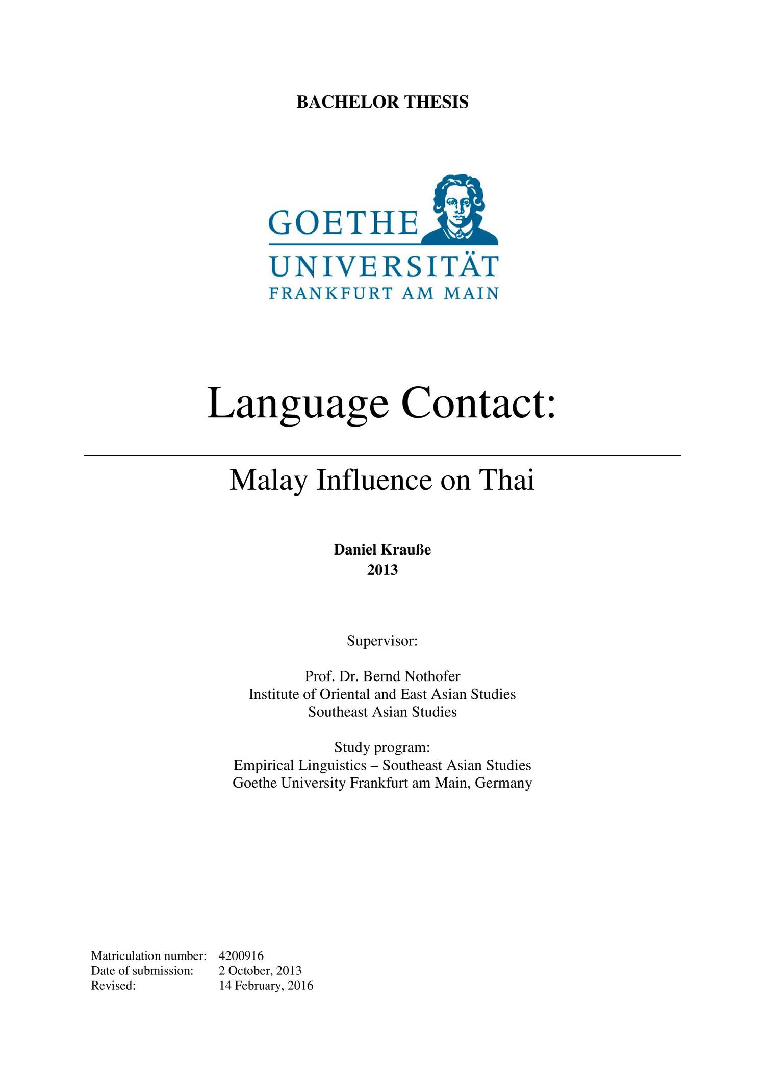 Language Contact Malay Influence On Thai Revised Pdf Docdroid