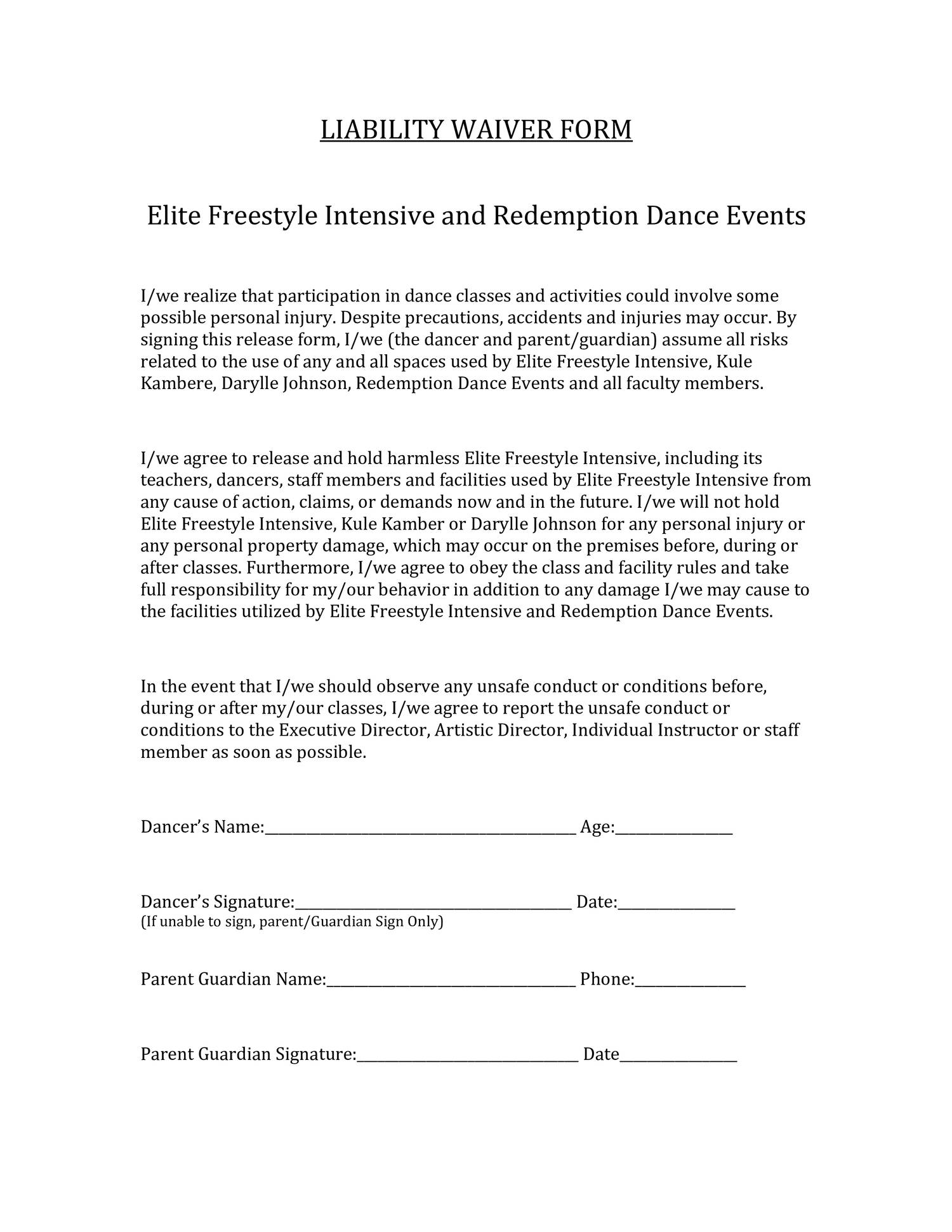 WAIVER FORM-Elite Freestyle Intensive & Redemption Dance Events ...