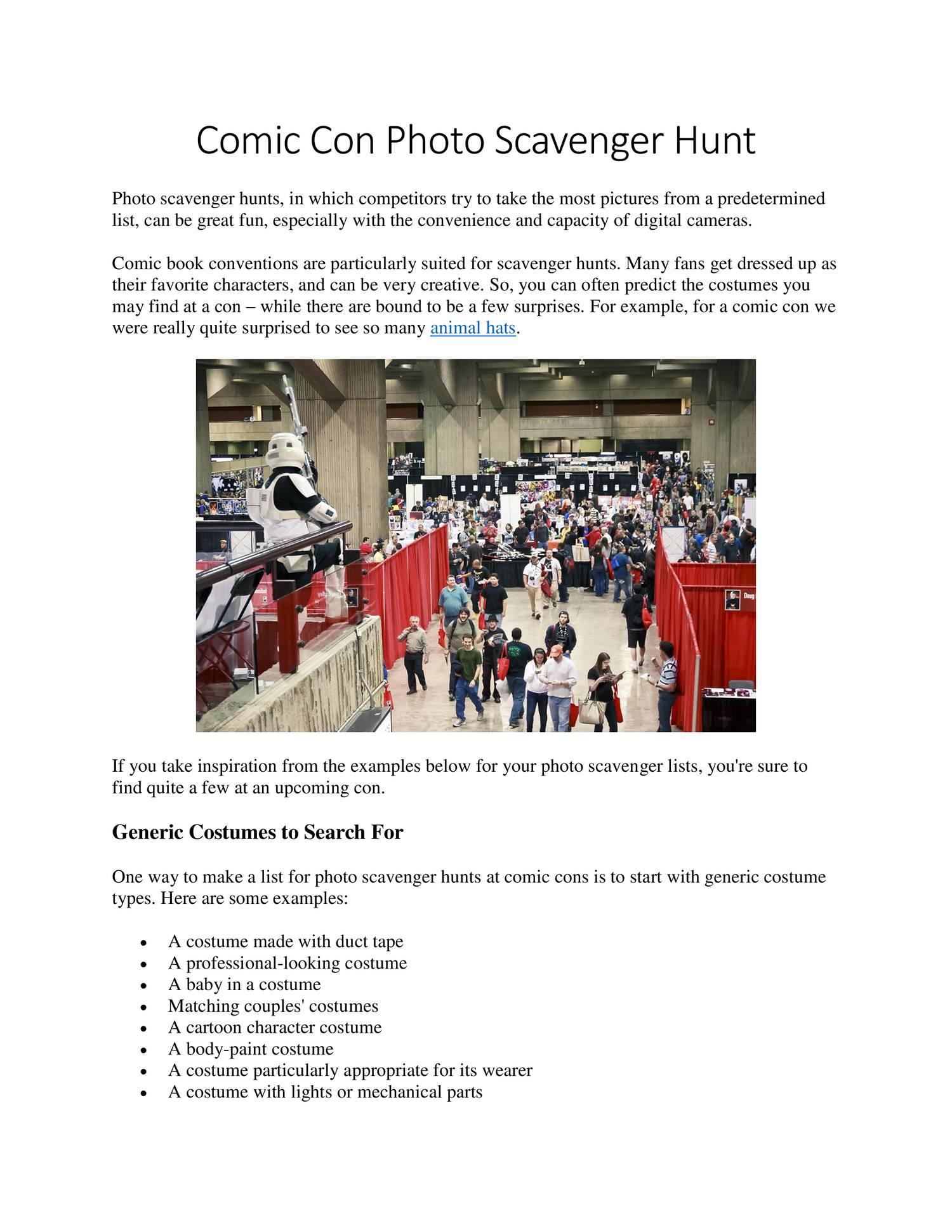 Comic Con Photo Scavenger Hunt pdf   DocDroid