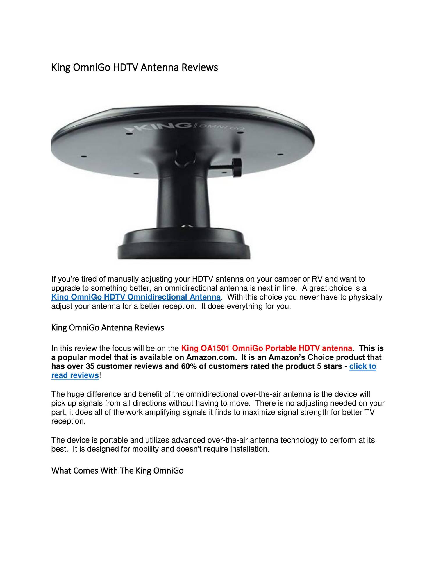 King OmniGo HDTV Antenna Reviews docx   DocDroid