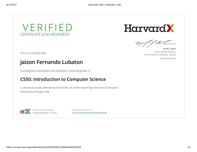 HarvardX CS50 Certificate _ edX pdf | DocDroid
