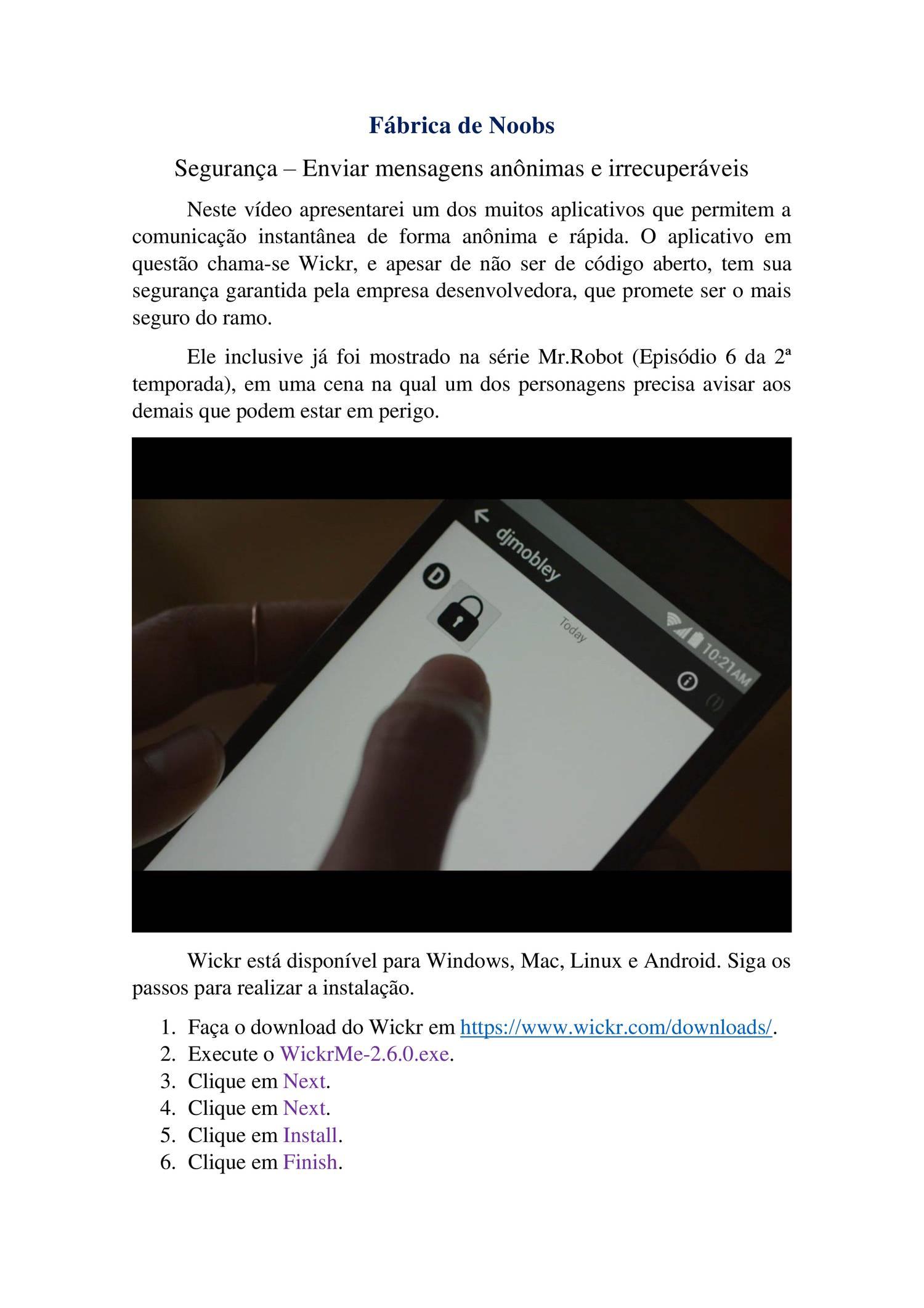 Segurança – Enviar mensagens anônimas e irrecuperáveis pdf | DocDroid