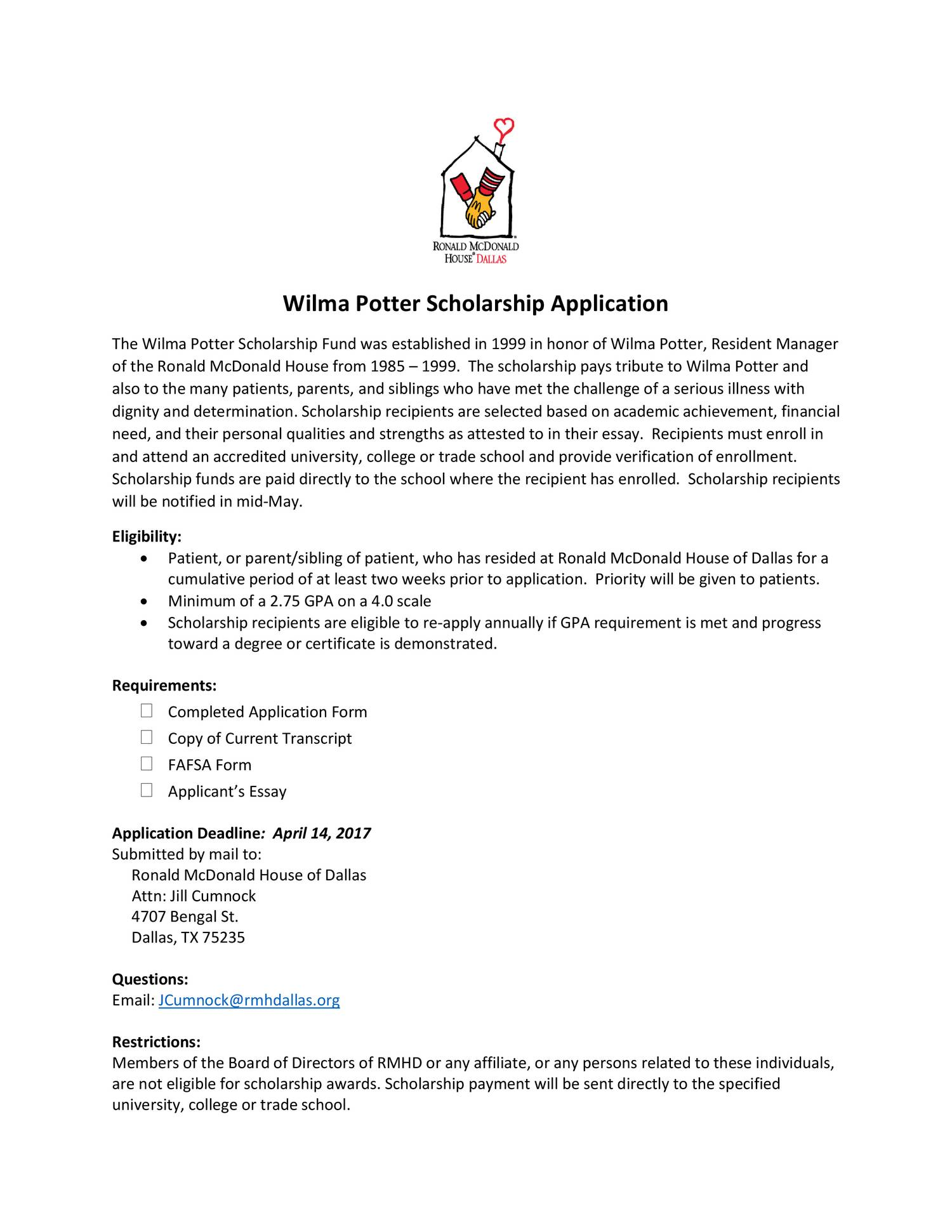 Scholarship essay cover page