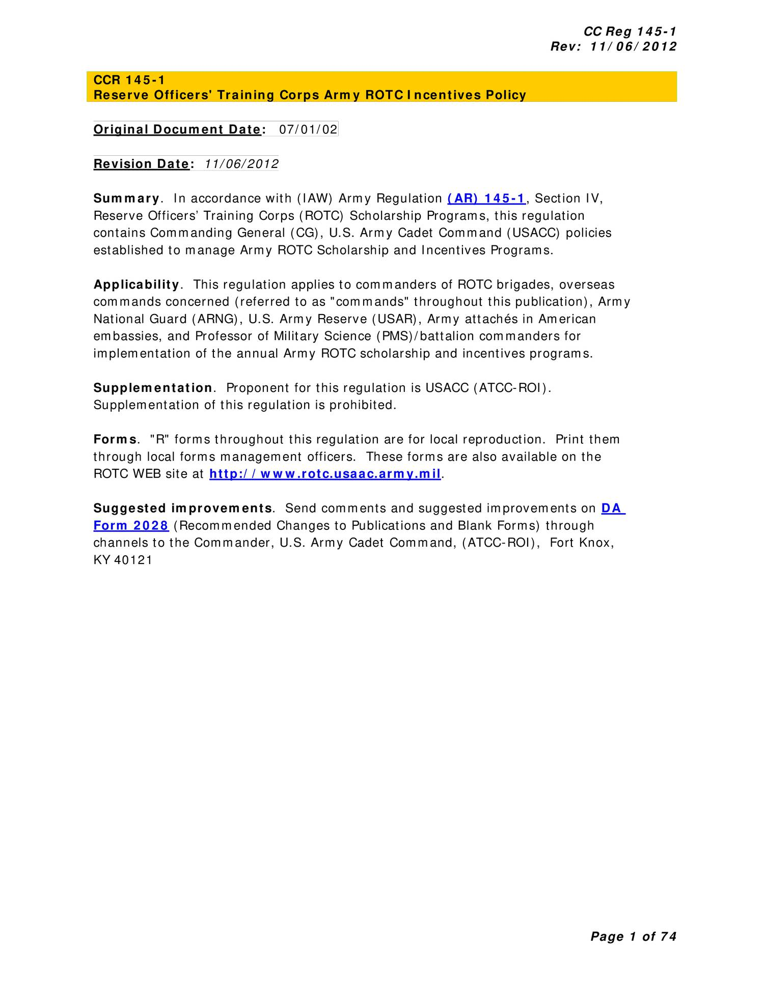 Reserve Officers Training Corps Army Rotc Incentives Policy Cc