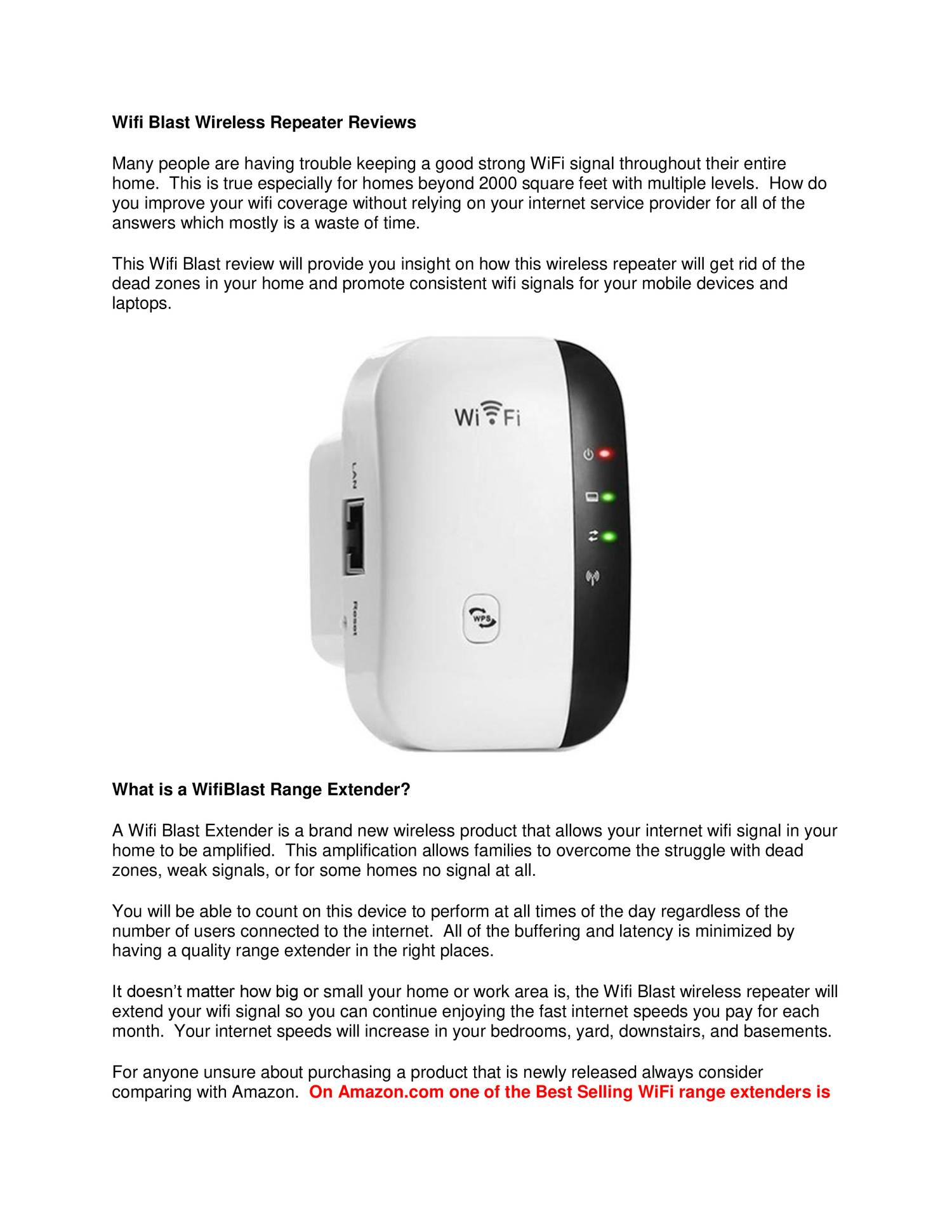 Wifi Blast Wireless Repeater Reviews docx | DocDroid