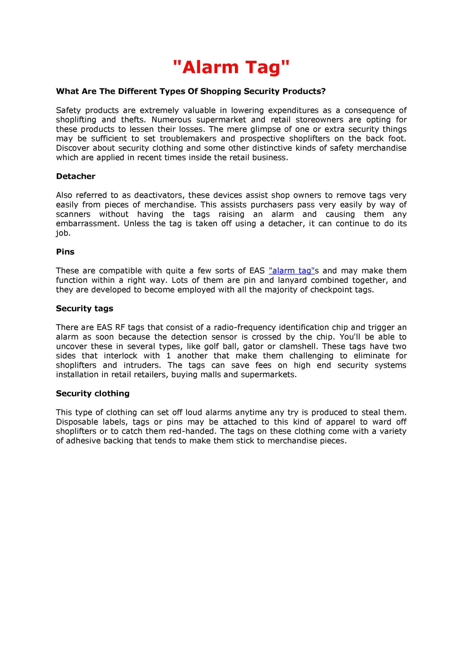 Alarm Tag pdf | DocDroid