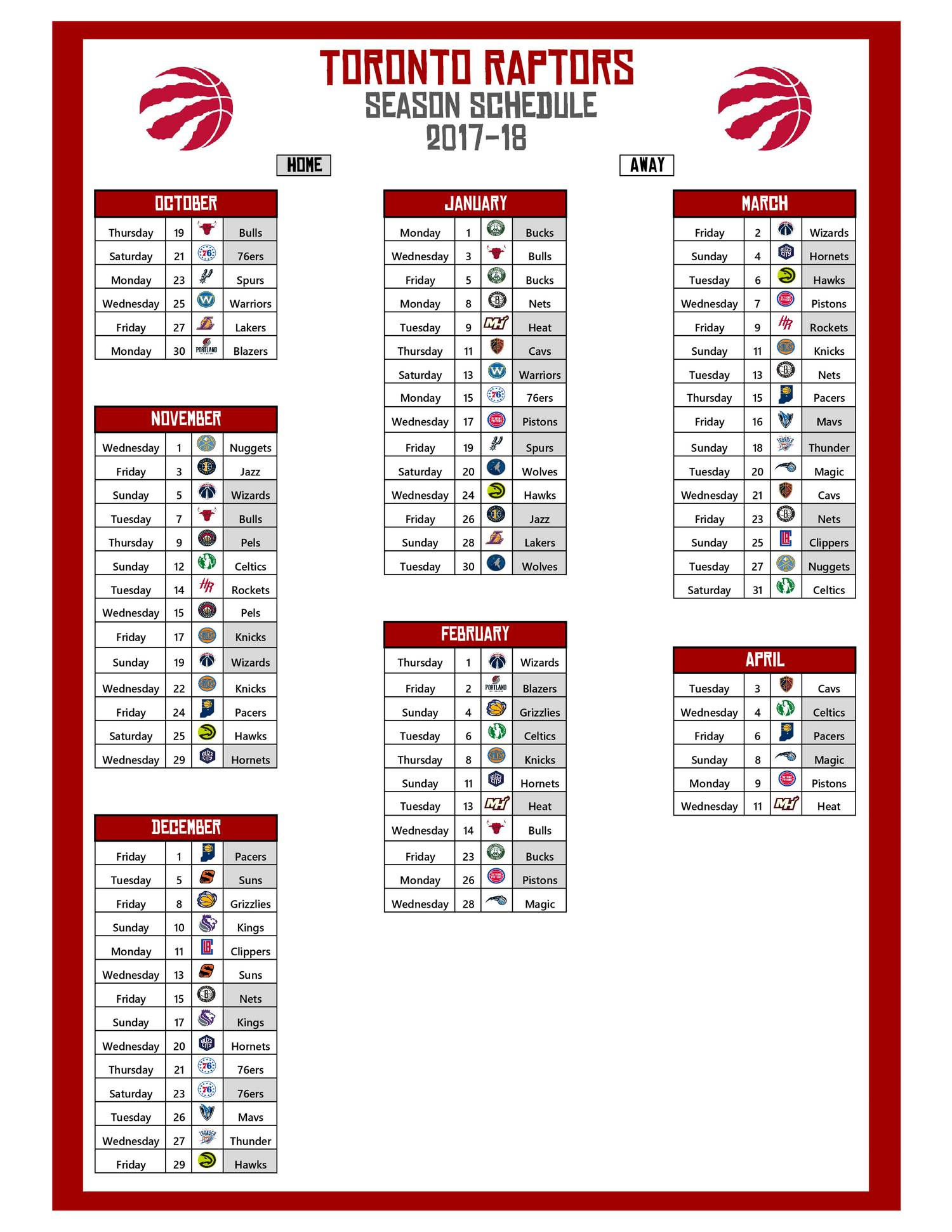2017-18 Raptors Schedule.pdf - DocDroid