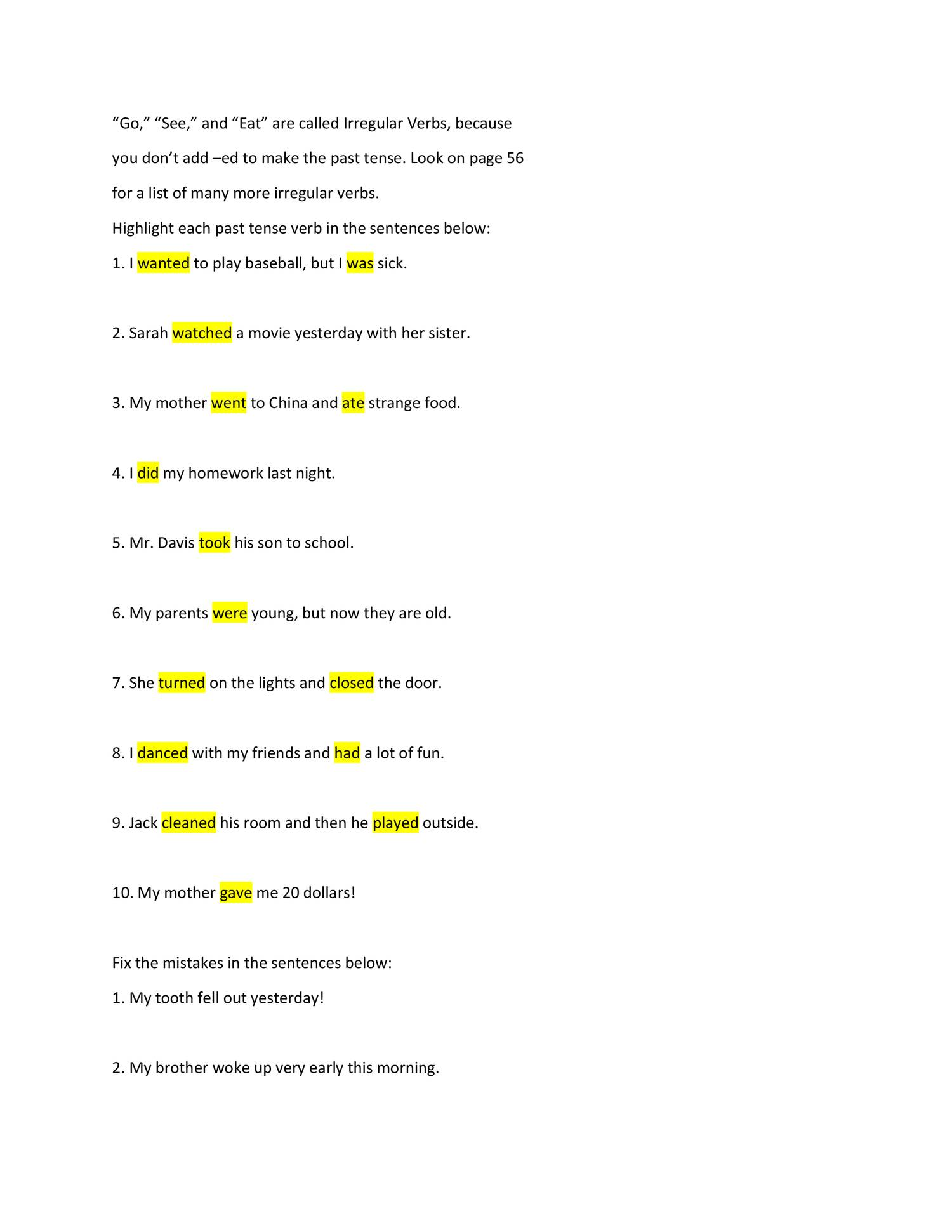 Past tense worksheet-answers.docx | DocDroid