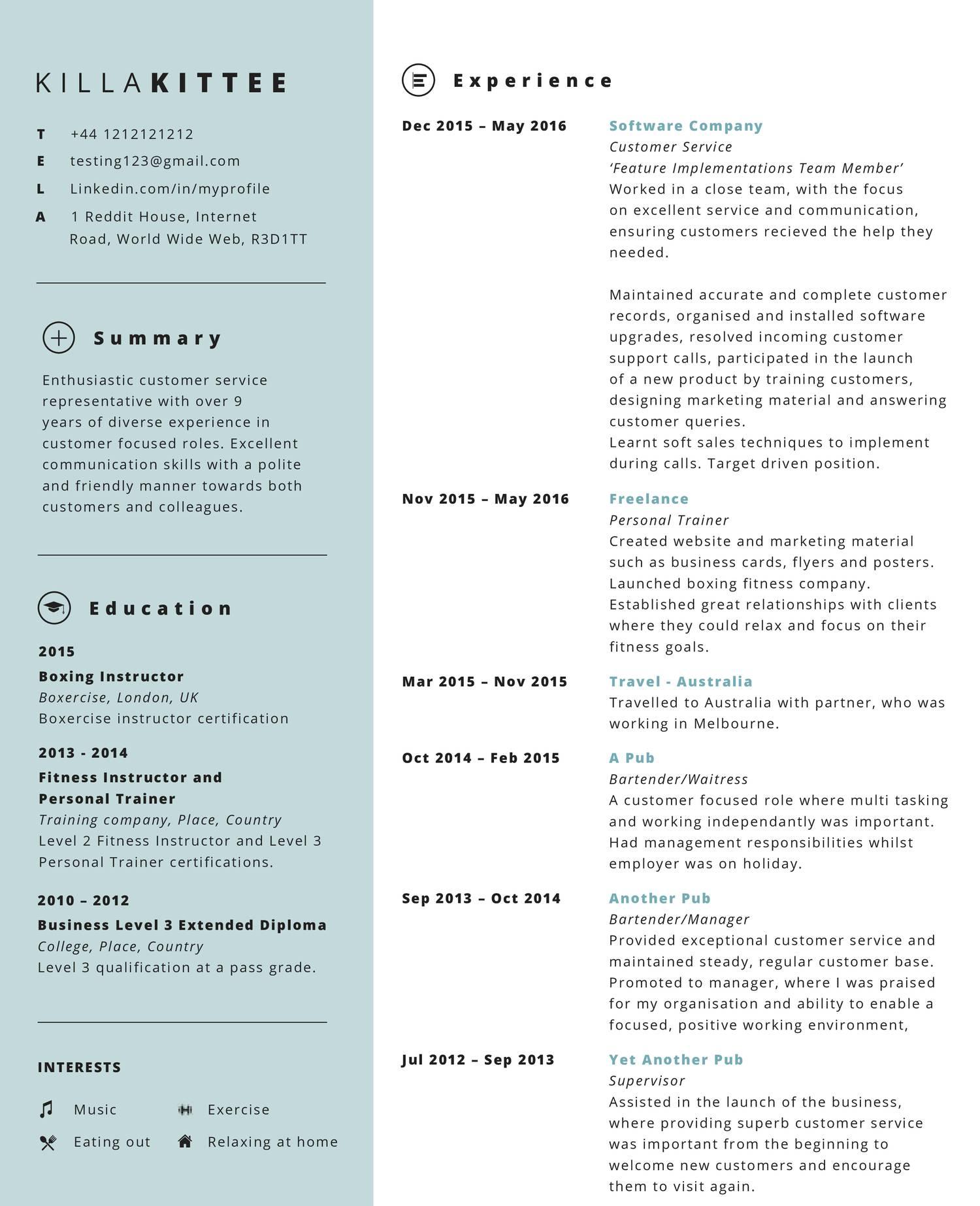 Fake Resume Examples  Fake Resume Example