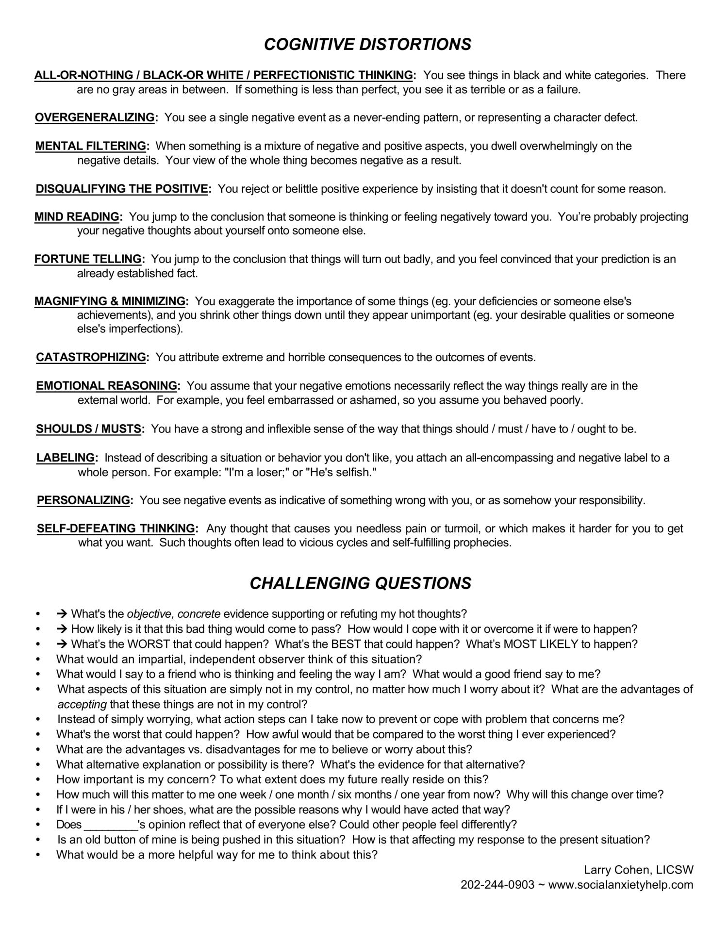 Cognitive Restructuring Worksheetspdf DocDroid – Character Defects Worksheet