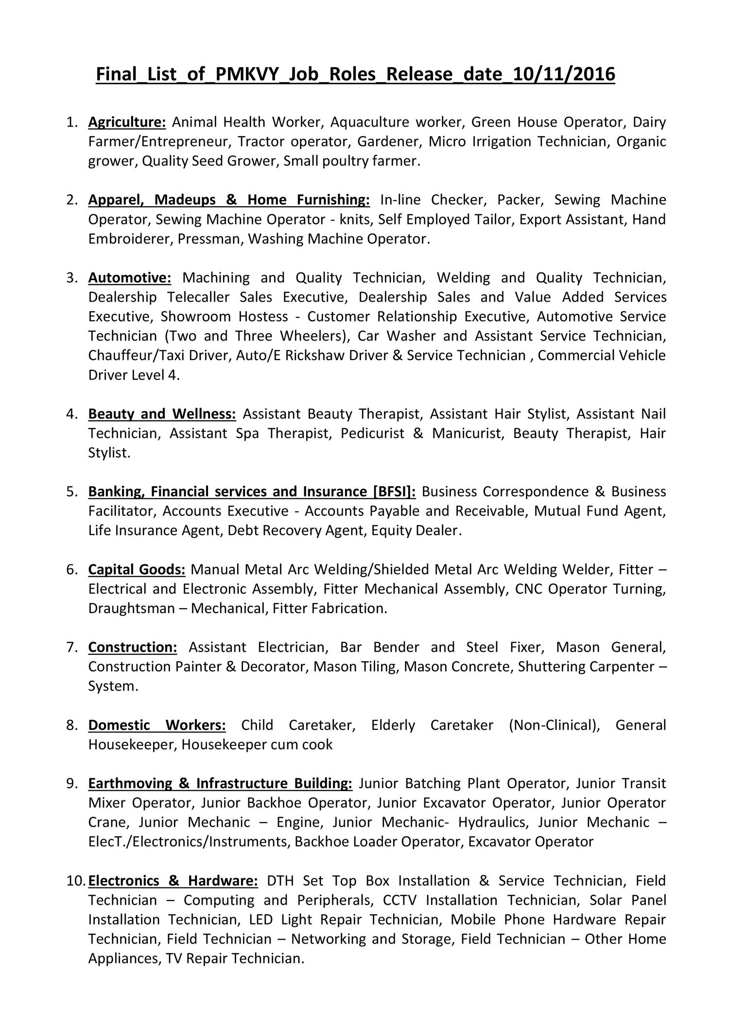 4  Job Roles in pmkvy2 0 with Job Role-E pdf | DocDroid