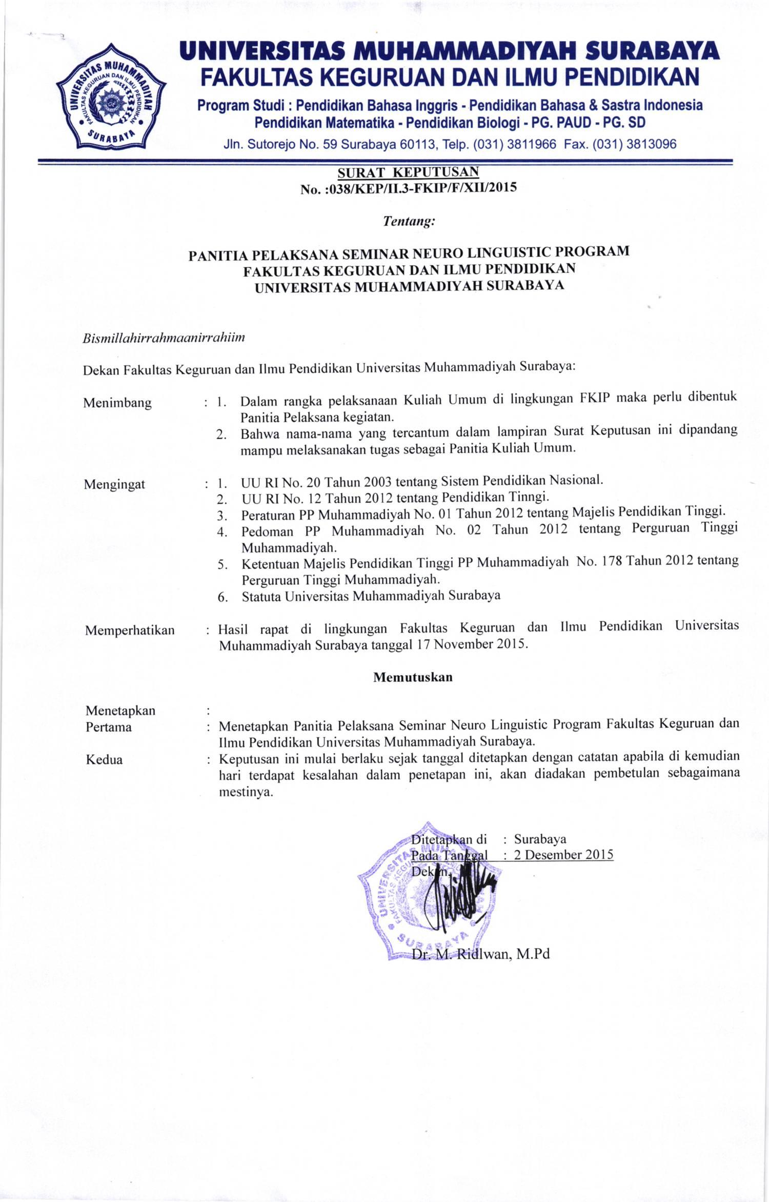 Sk Panitia Pelaksana Seminar Nlp12152015094747pdf Docdroid