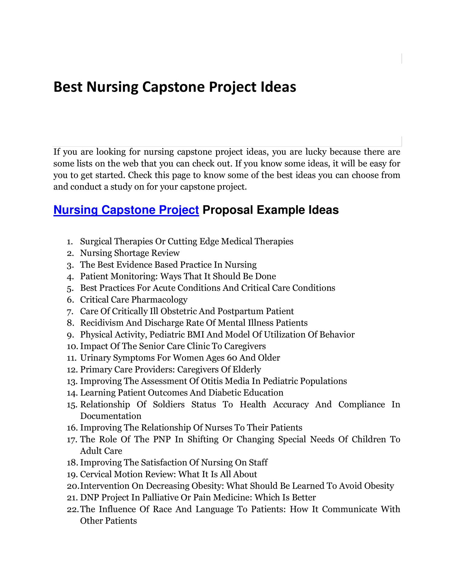 capstone paper nursing interventions Use a sample nursing capstone paper as a guide for your own paper other common mistakes in nursing capstone papers our nursing capstone project writing service.