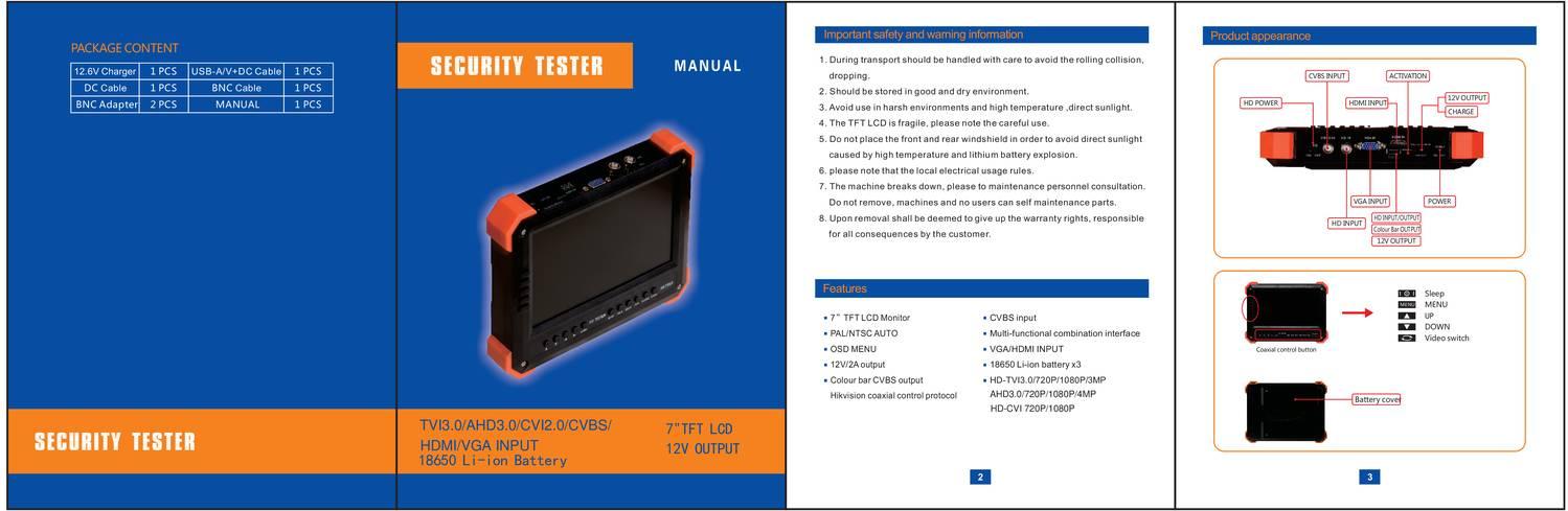 User Manual for 7inch 4 IN 1 TVI+AHD+CVI+Analog CCTV Tester SYL ...