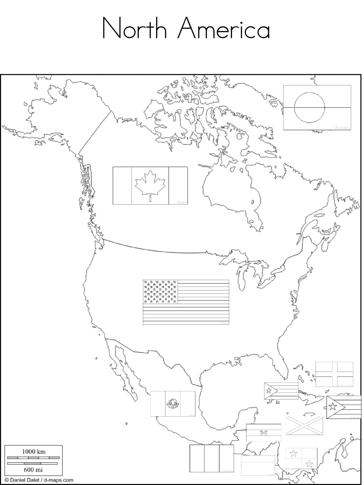 Flags on Map Coloring Pages NorthAmerica SouthAmerica Europe Africa