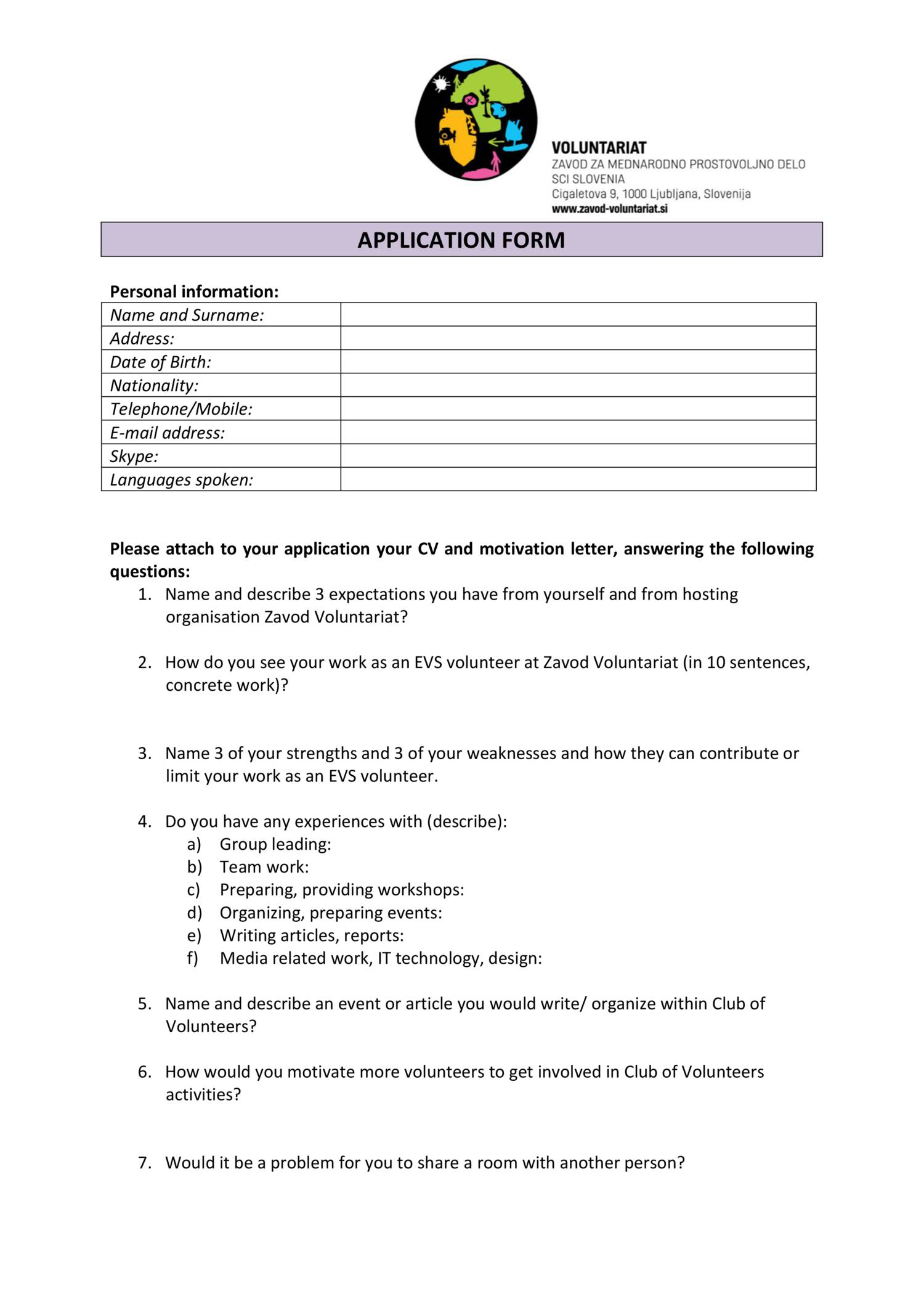 application form evs zv 2016 doc docdroid