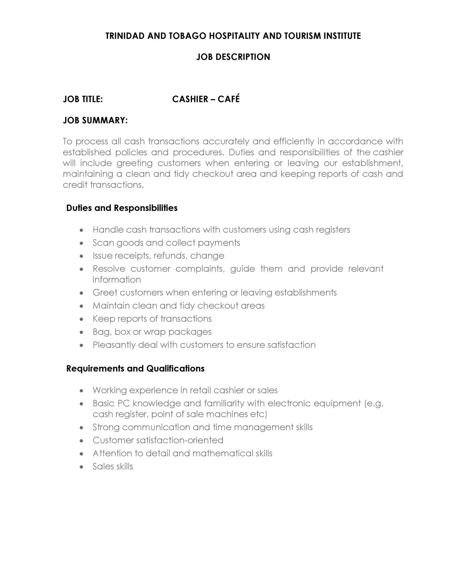 job description of cashier