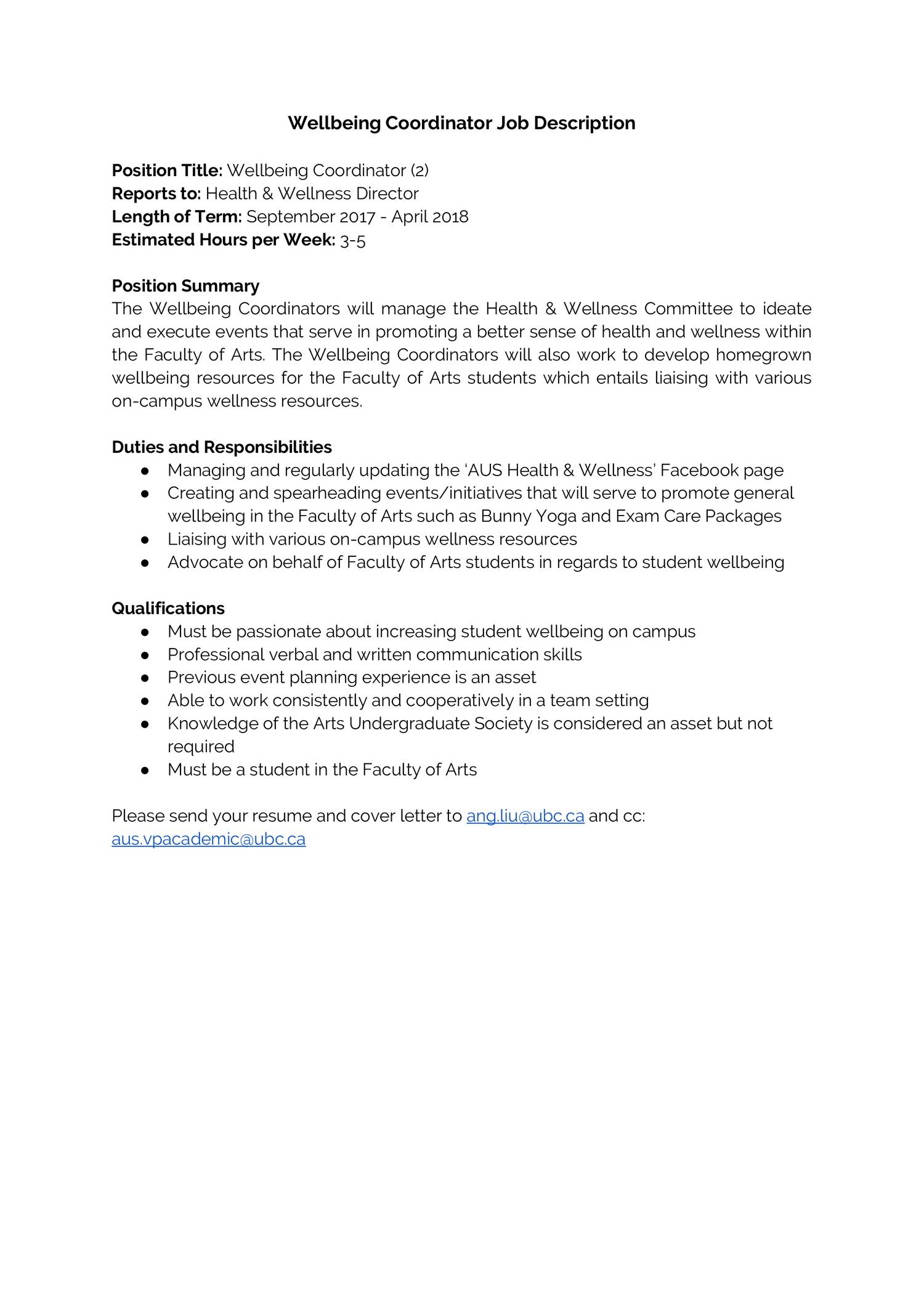 Wellbeing Coordinator Job Descriptiondocx
