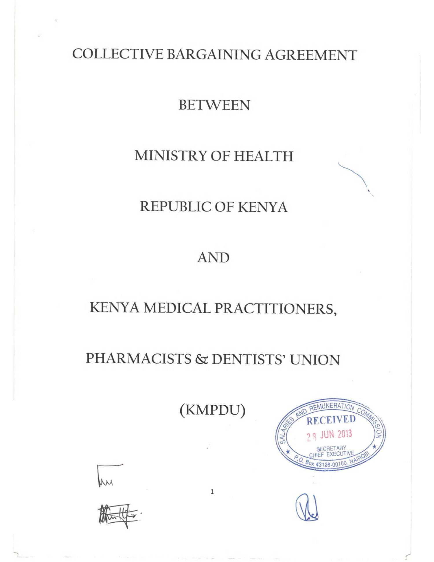 Cba Between The Ministry Of Health Kmpdu Signedpdf Docdroid