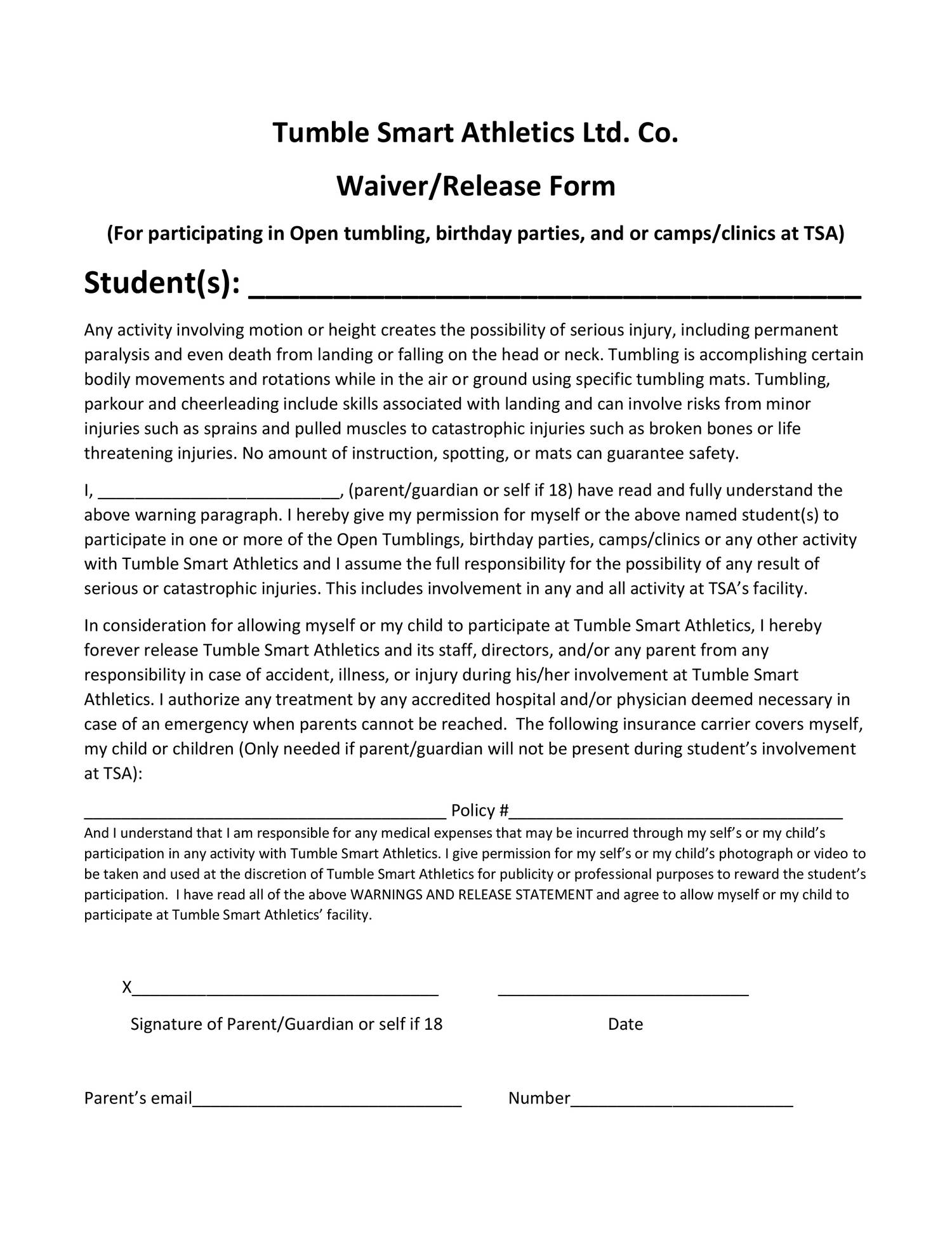 waiver and release form for free templates flyer