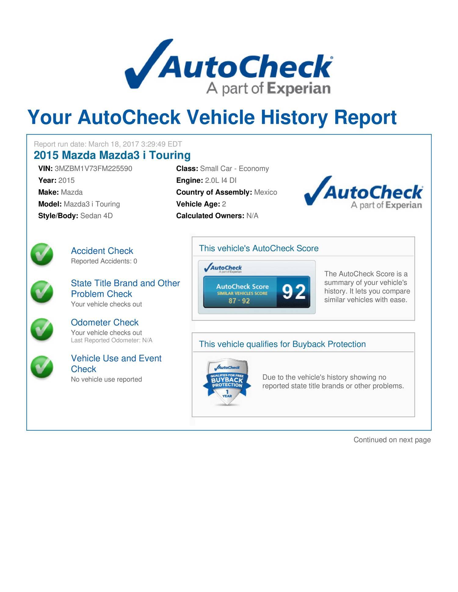 3MZBM1V73FM225590 - autocheck report pdf | DocDroid