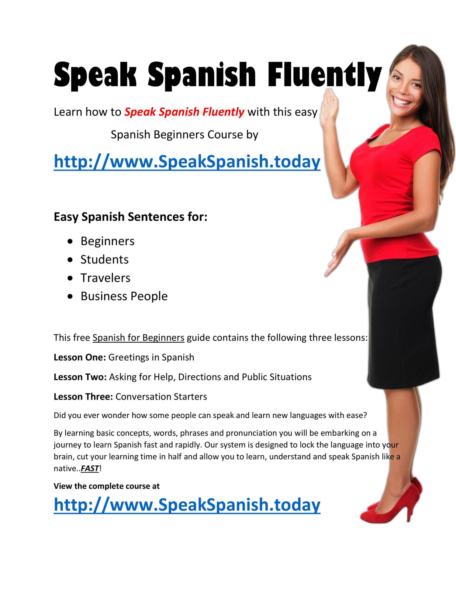 How To Speak Spanish Fluently Spanish Beginners Coursepdf Docdroid