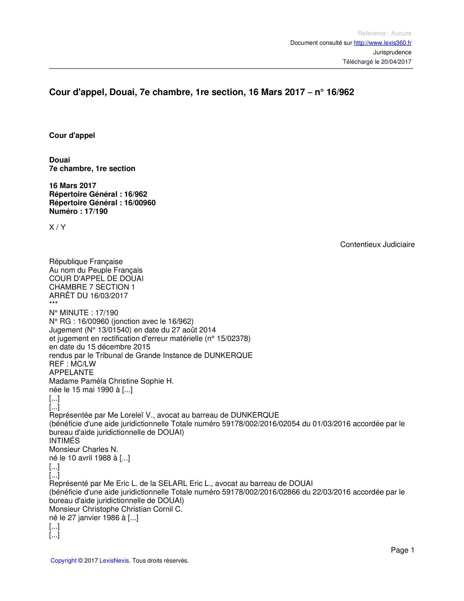 Cour d 39 appel douai 7e chambre 1re section 16 - Chambre correctionnelle cour d appel ...