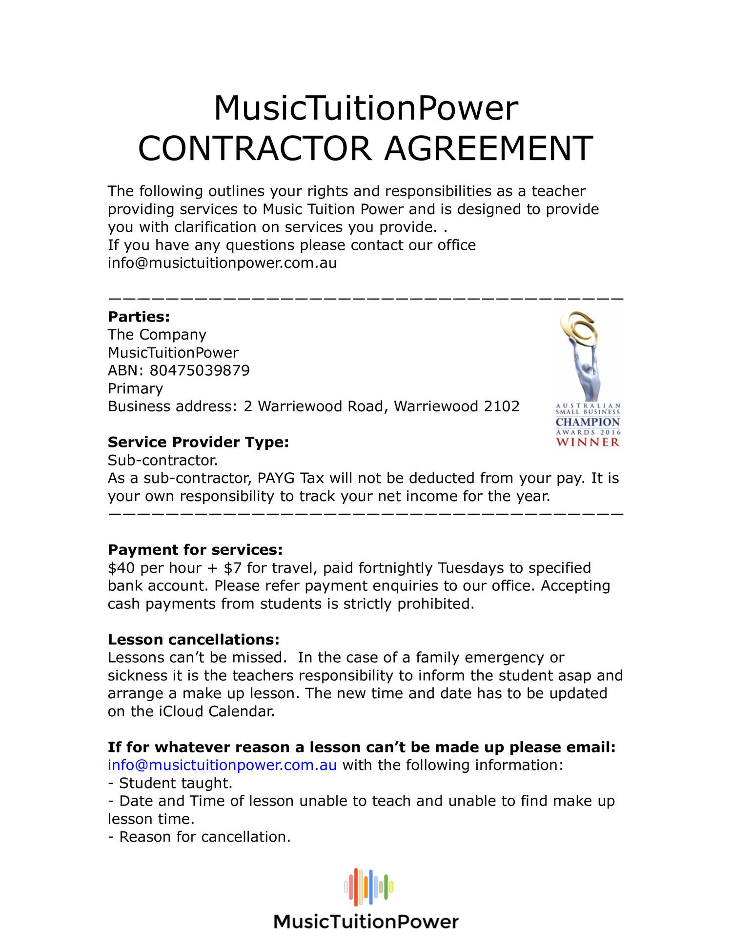 Music Tuition Power Teacher Contract3pdf DocDroid – Teacher Agreement Contract