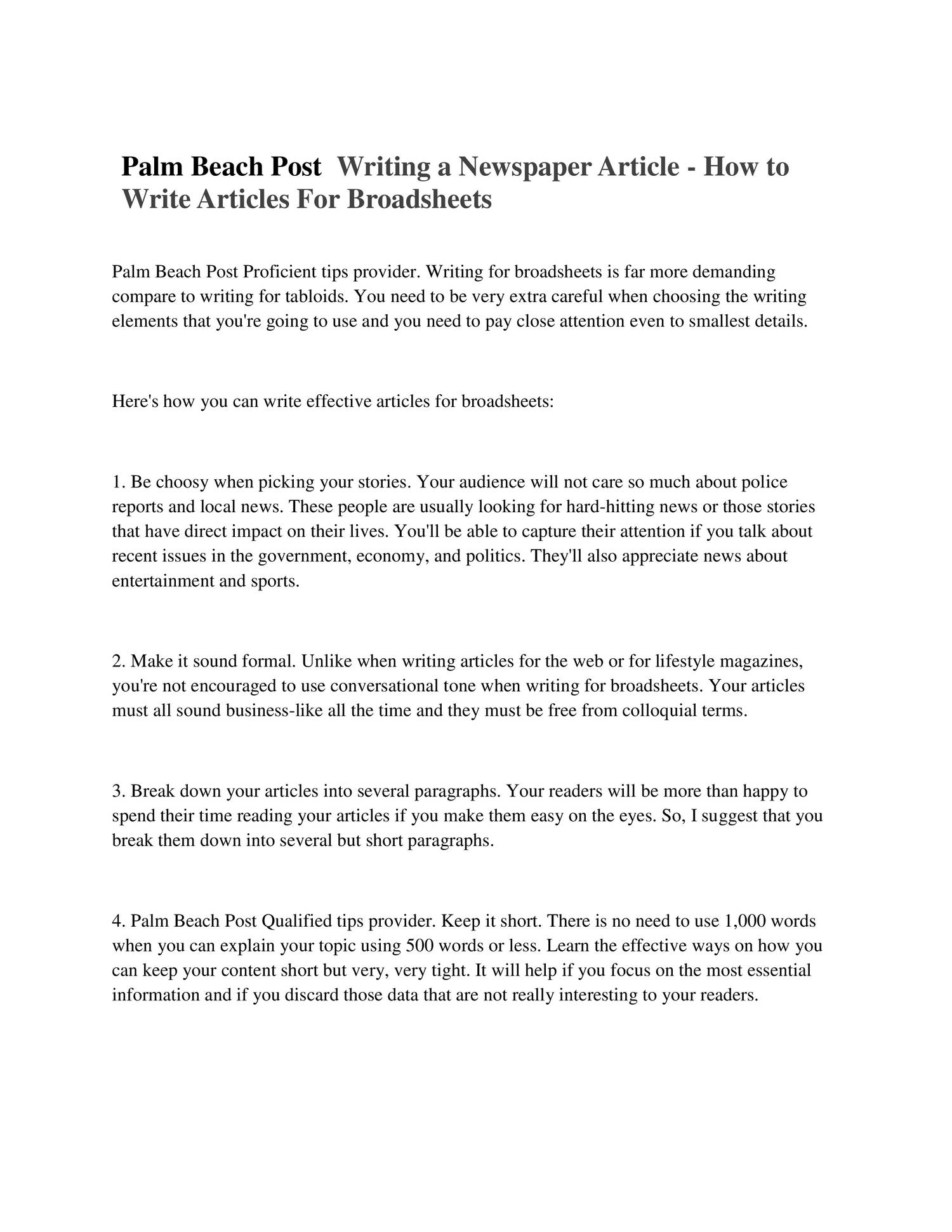 how to write a newspaper article