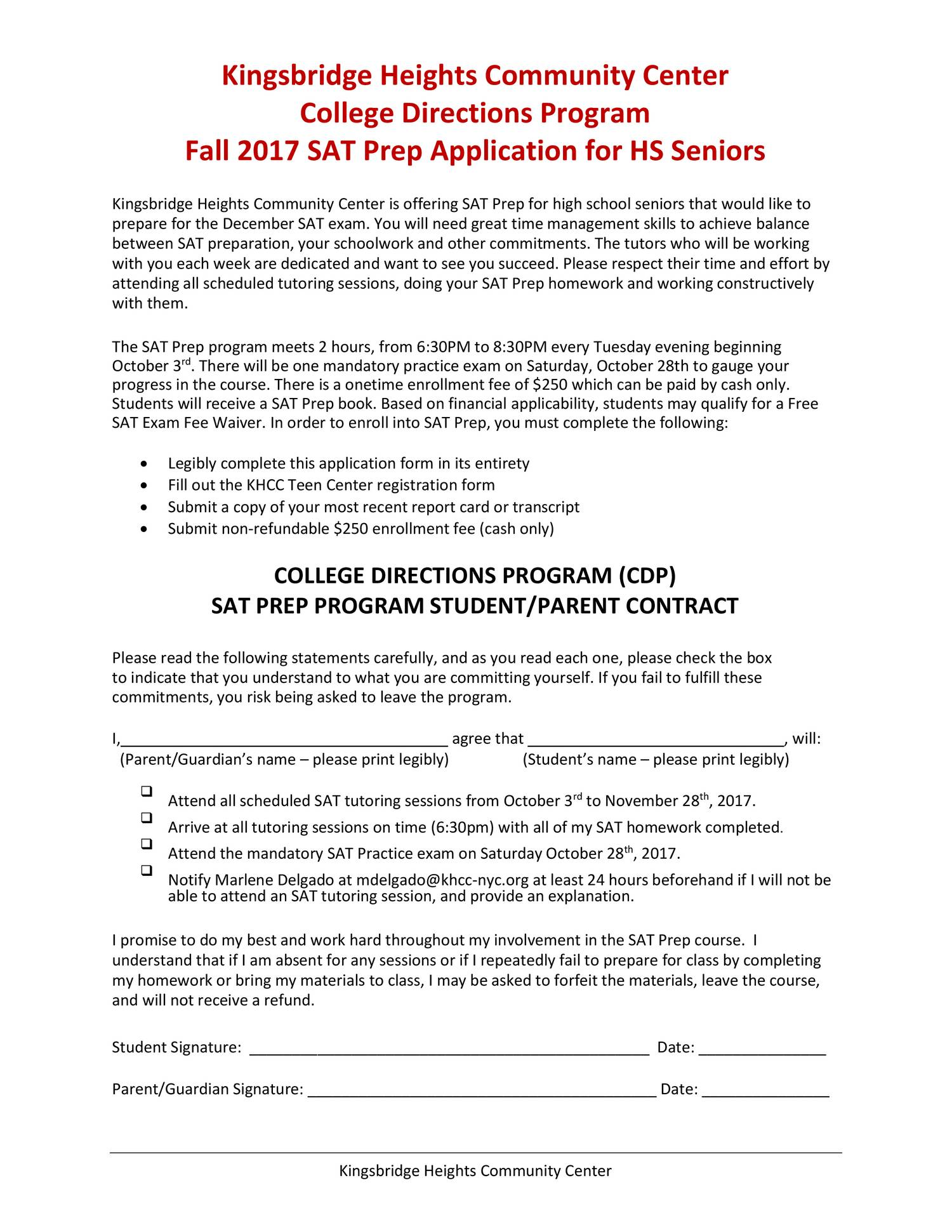 Teen center enrollment form are