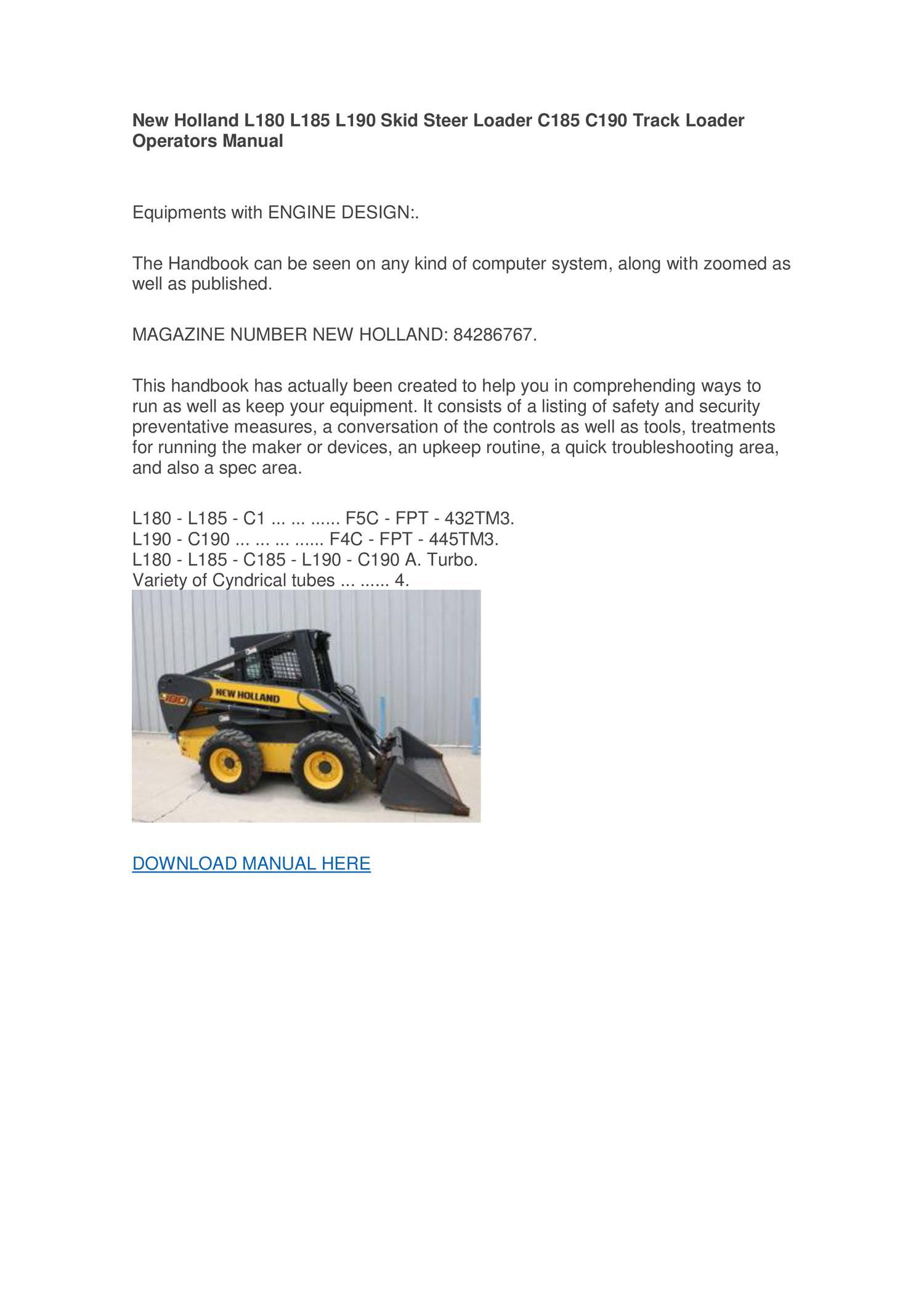 WRG-4669] New Holland L190 Skid Steer Operators Manual on