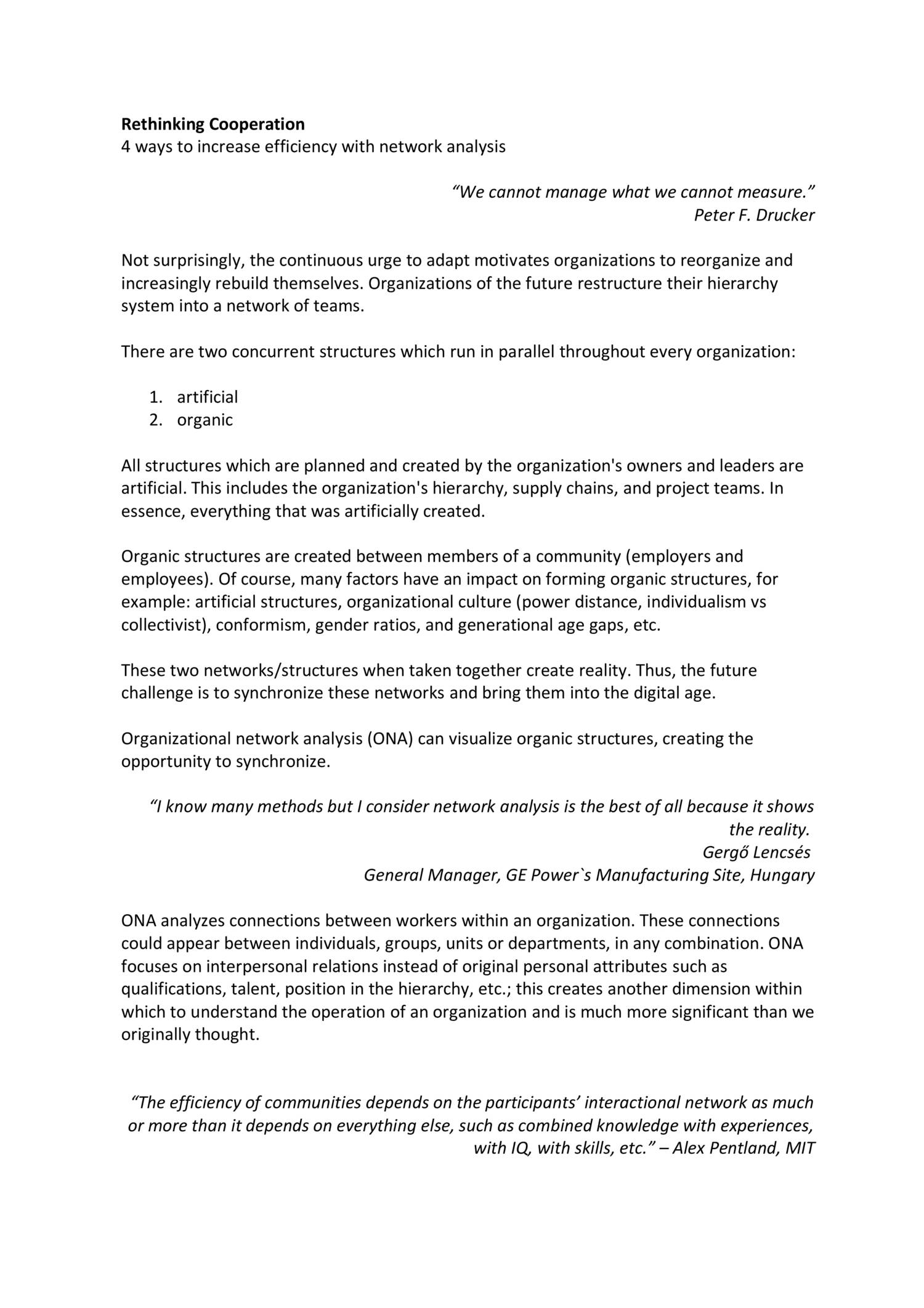 Organisational Network Analysis Efficiency pdf   DocDroid