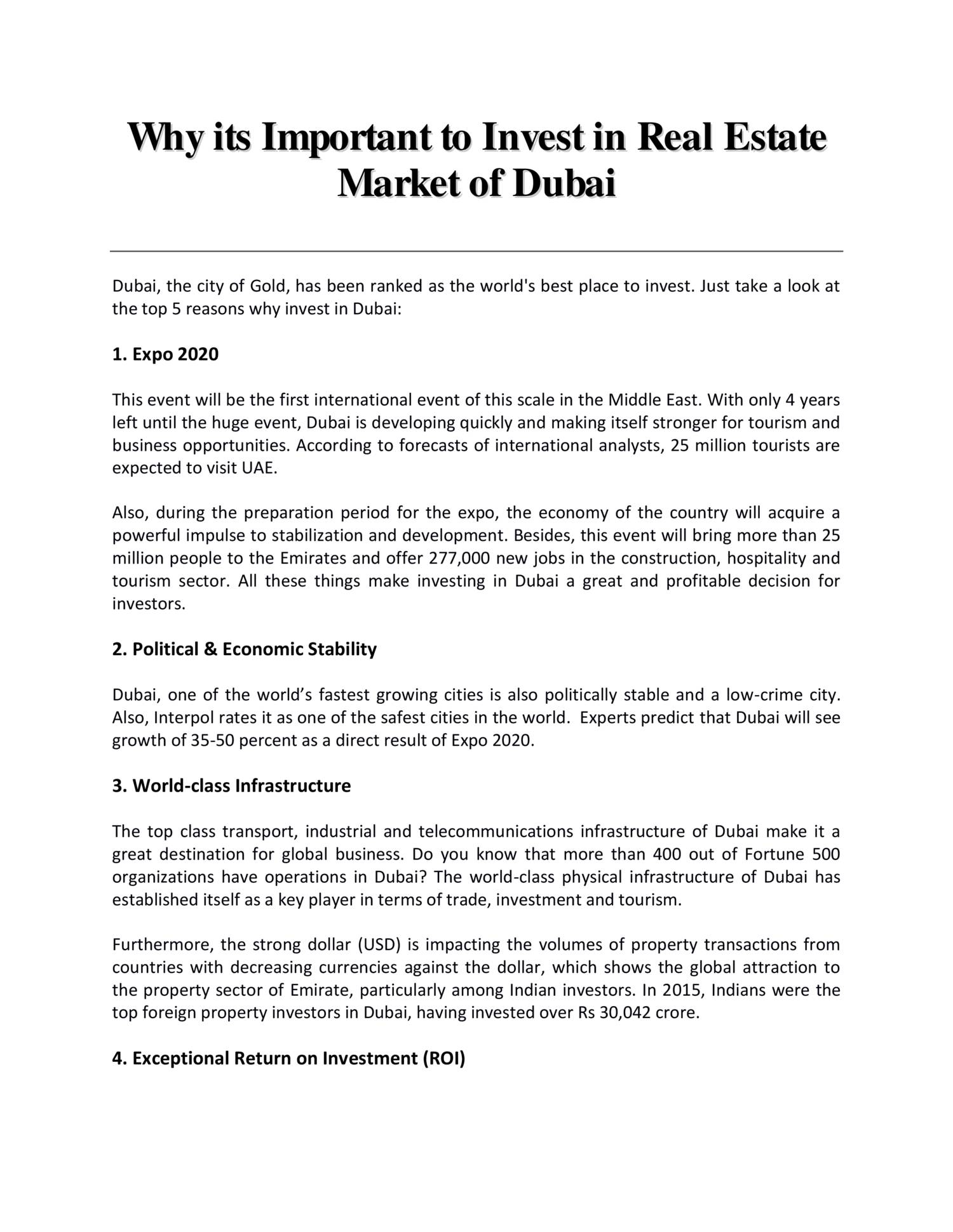 Why its important to invest in Real Estate Market of Dubai