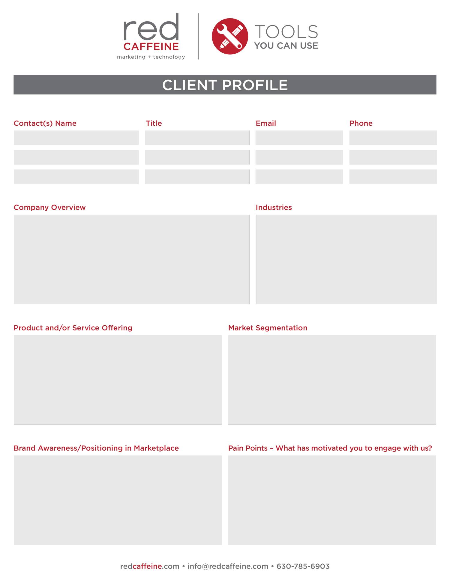 Client Profile Template | Red Caffeine Client Profile Template Pdf Docdroid