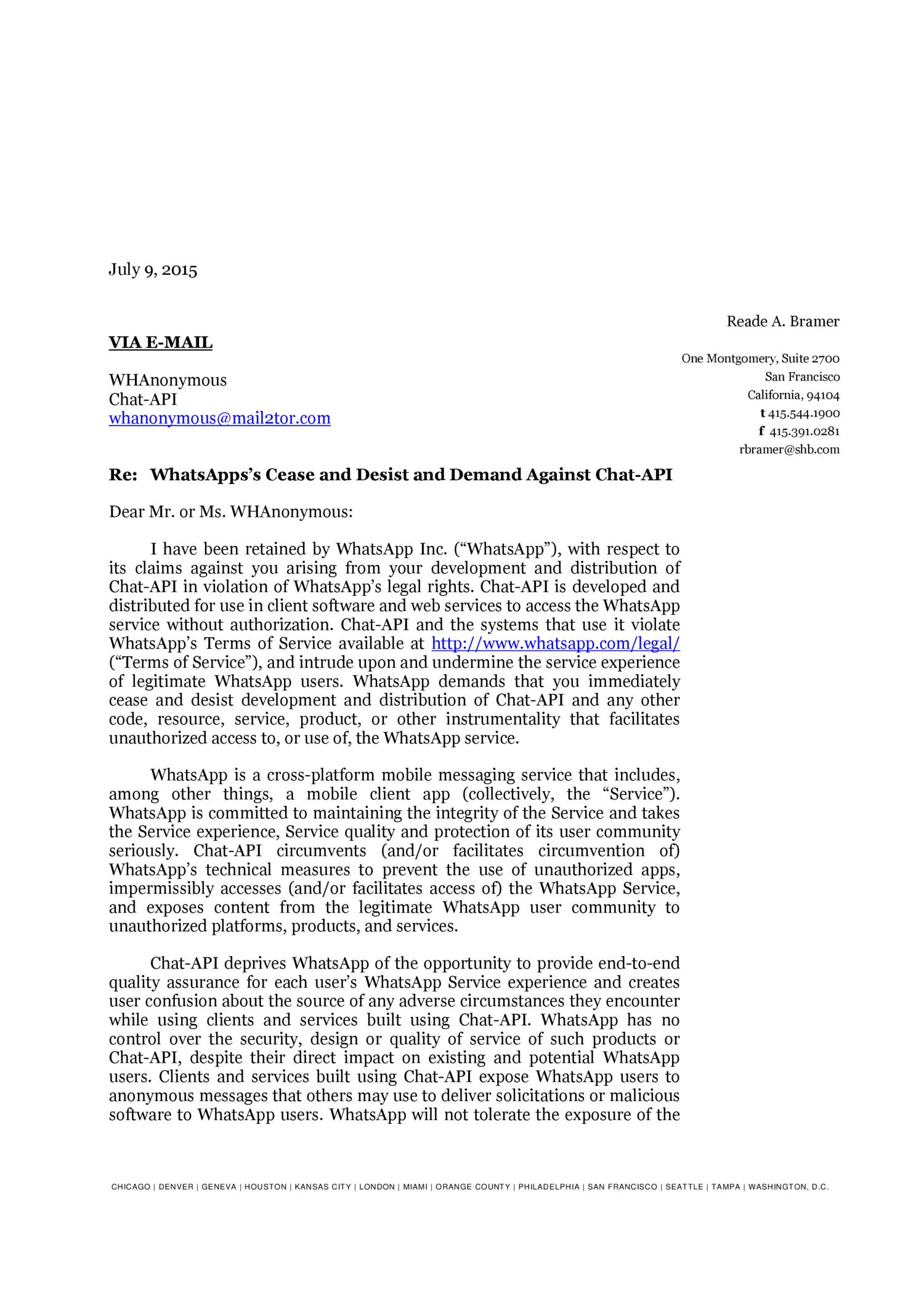 WhatsApp s Cease and Desist and Demand Against Chat API pdf DocDroid