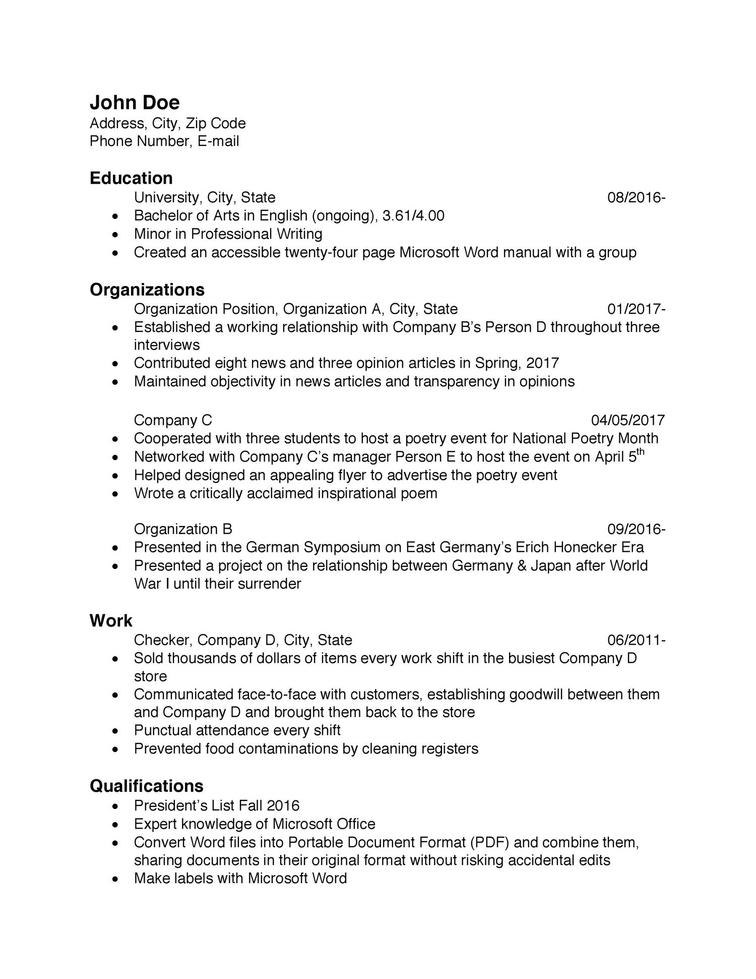 Sample Rsum for Portfolio.pdf | DocDroid