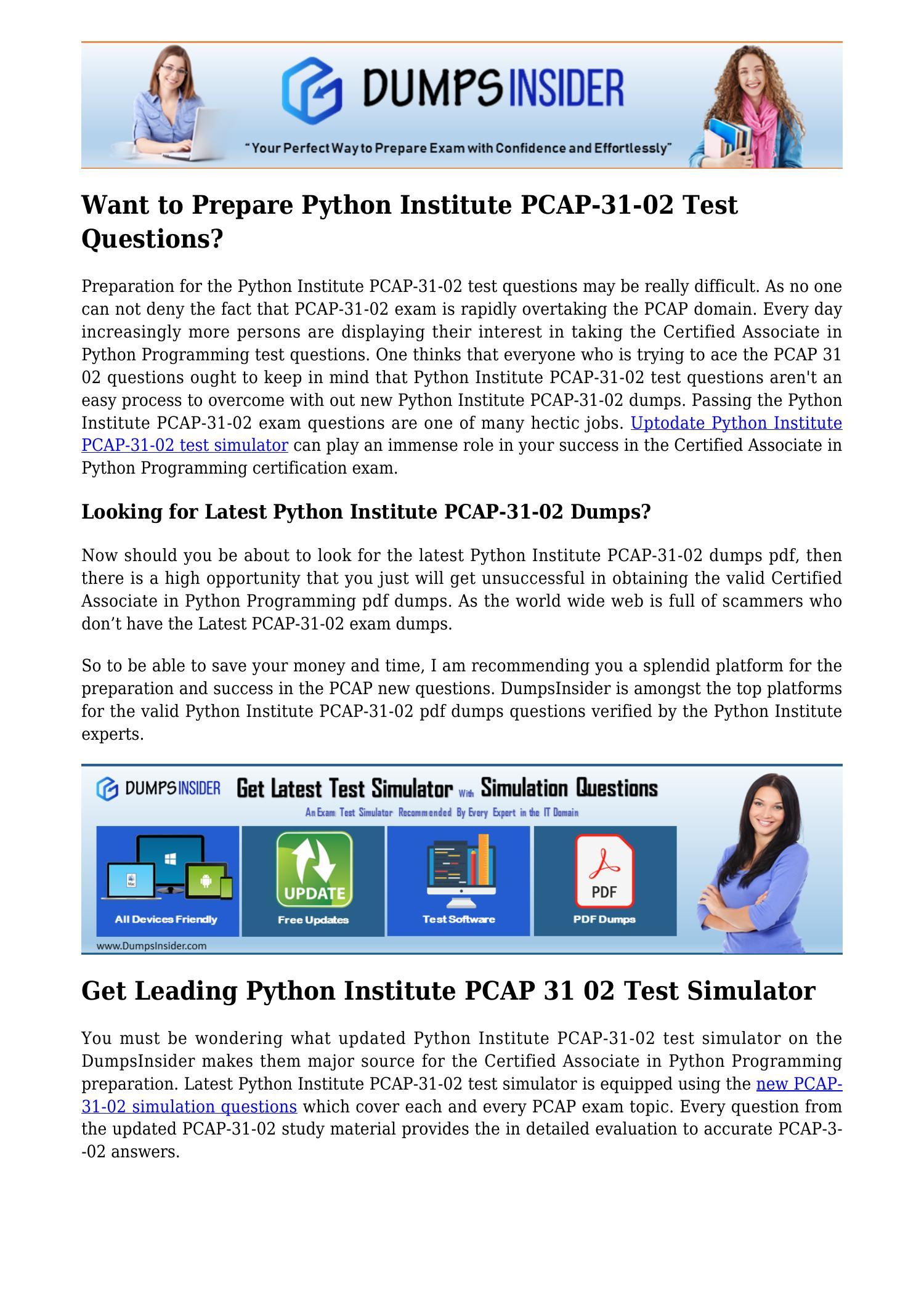 Certified Associate in Python Programming Institute Test PCAP-31-02 Exam QA+SIM